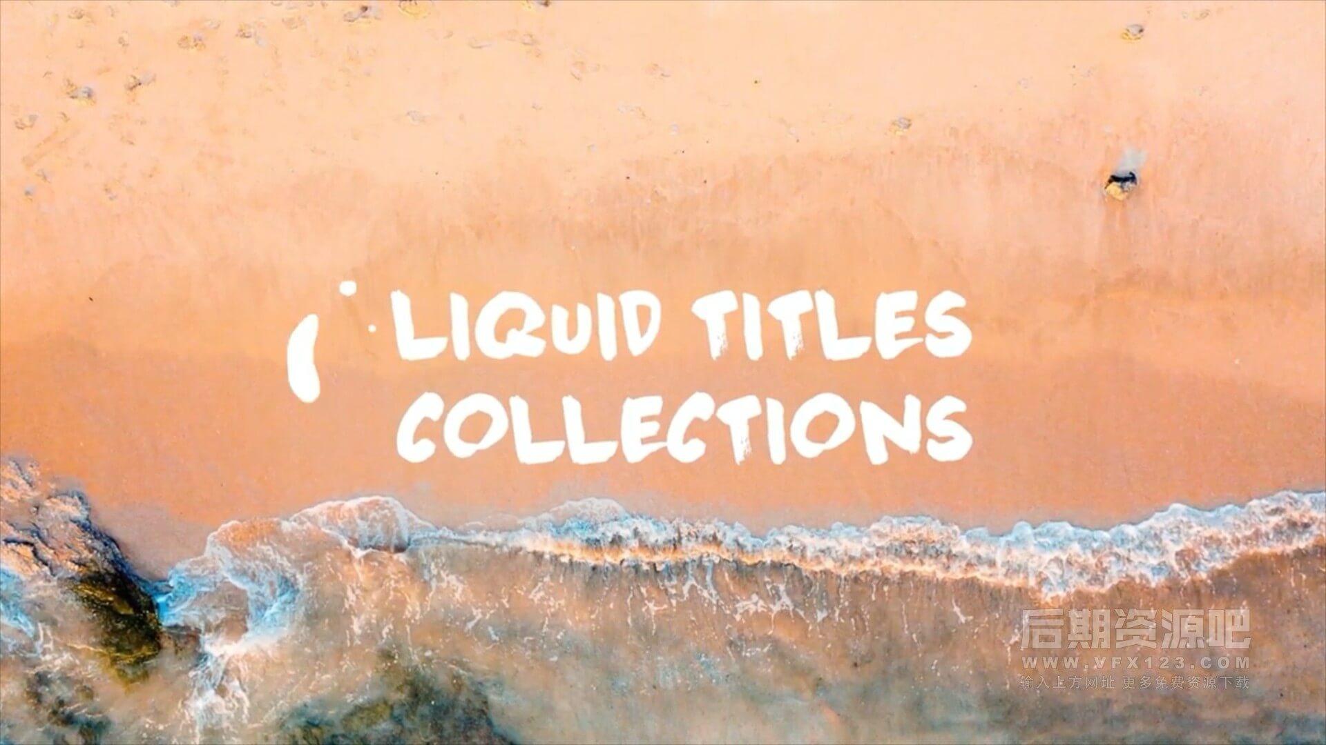 fcpx插件 10组卡通可爱水主题标题动画模板 Liquid Titles Collection