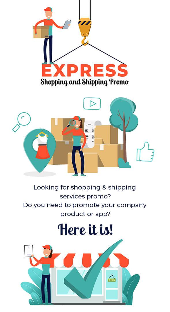 AE模板 快递运输购物促销场景动画包 Express Shopping Shipping Promo