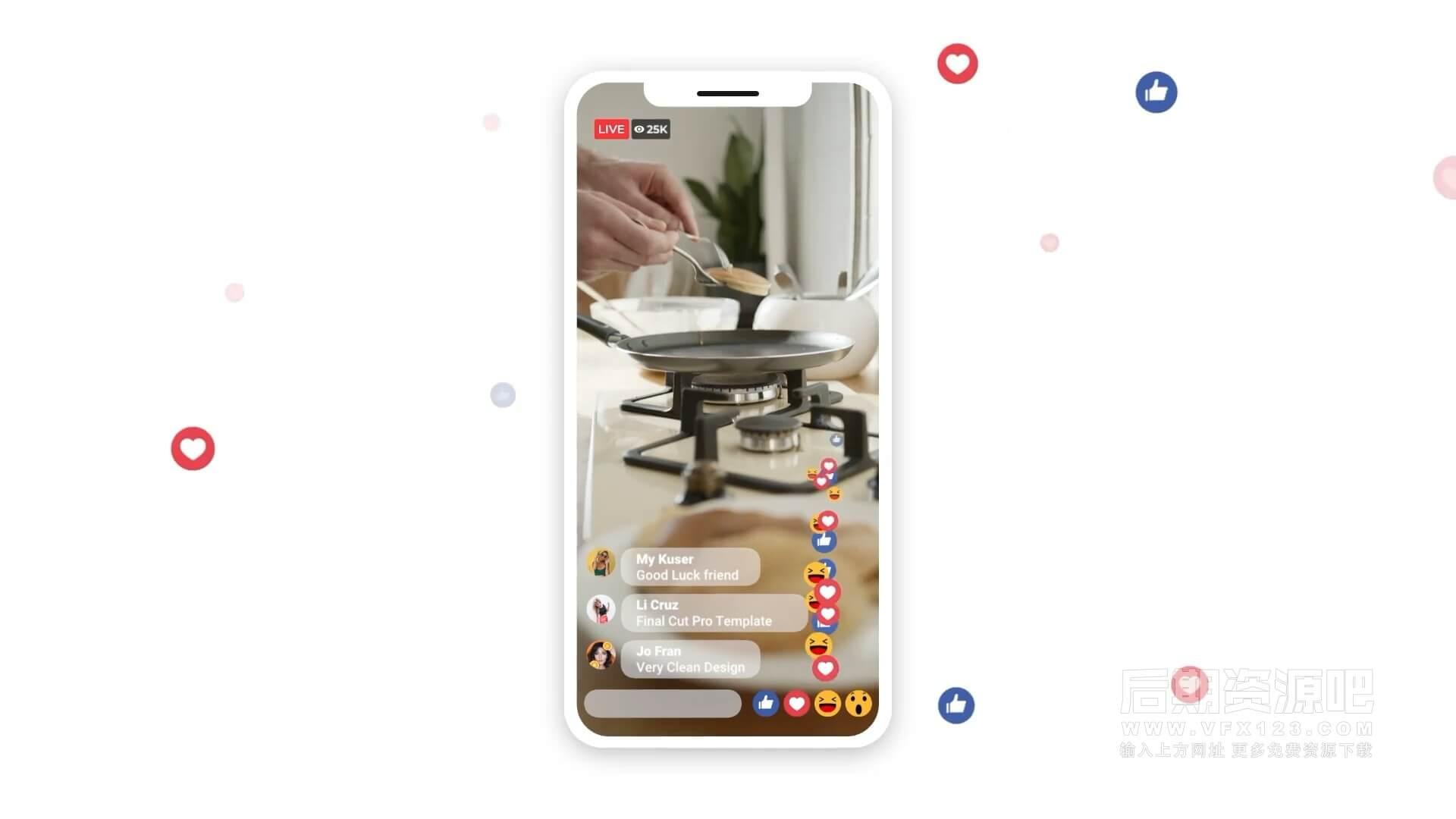 fcpx插件 手机短视频用户推广视频竖屏片头模板 Mobile Live