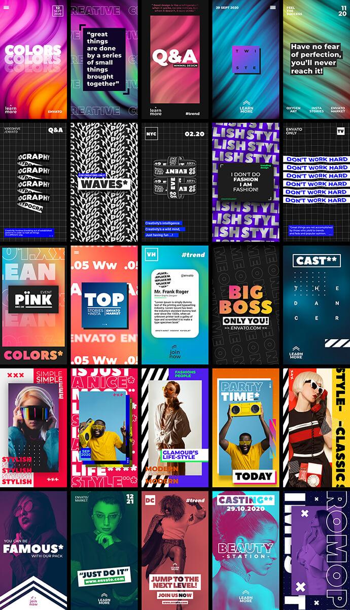 AE模板 25手机短视频竖屏图文展示片头模板 Ins Stories Bundle
