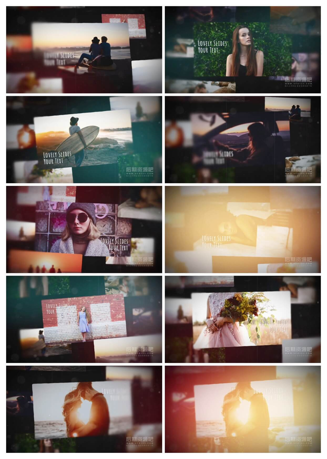 fcpx插件 时尚爱情婚礼MV电子相册展示模板 Lovely Slides