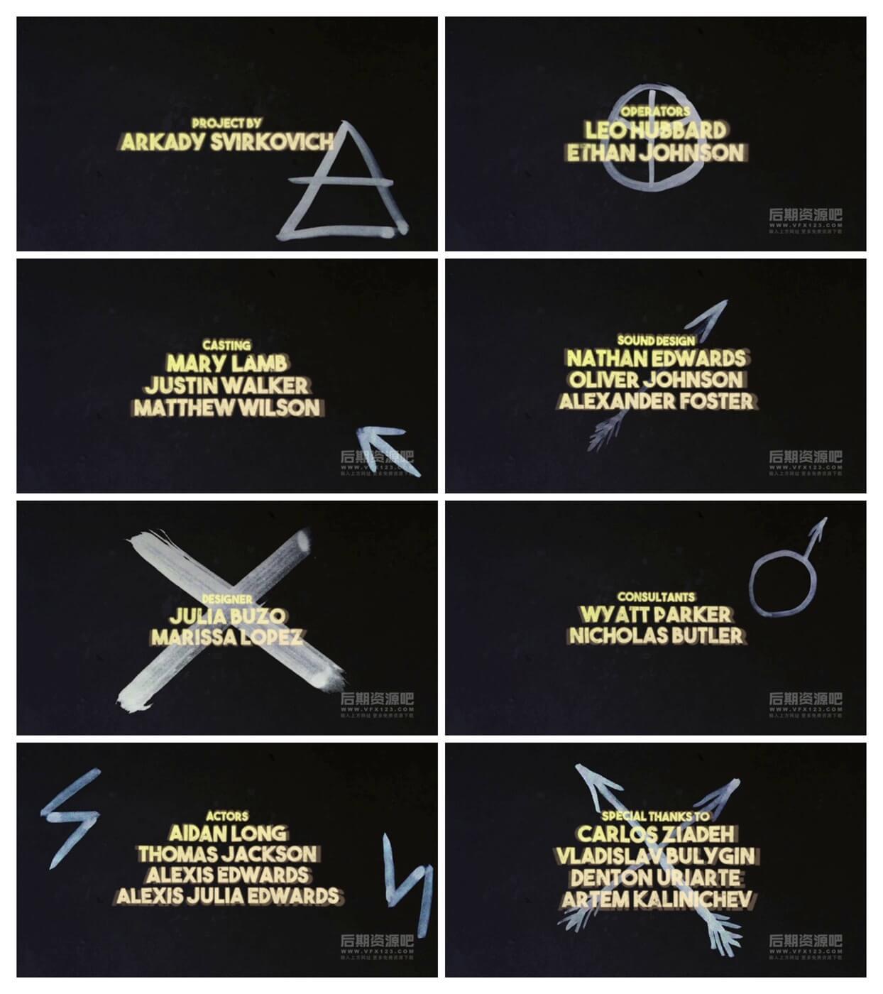 fcpx插件 复古故障干扰效果风格电影片尾创作者名单模板 Grunge Credits