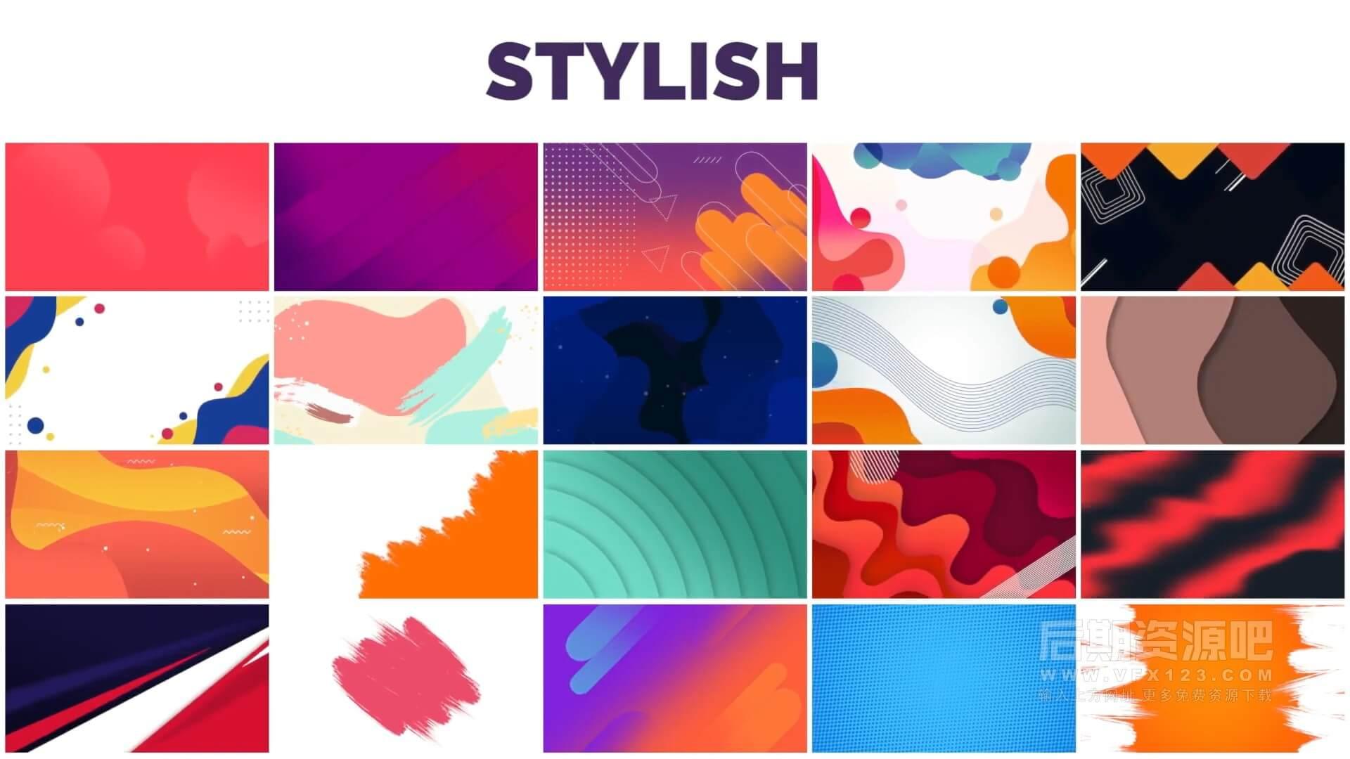 fcpx插件 127个清新彩色背景动画+小元素装饰+标题模板 Backgrounds Titles