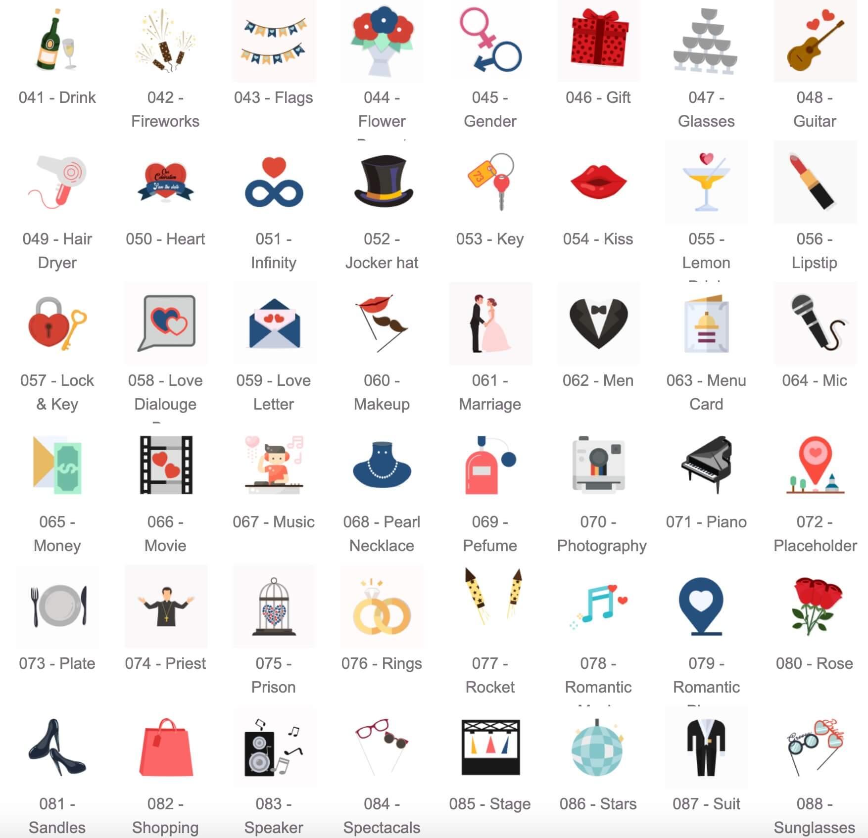 AE模板 100个婚礼icon图标动画 各种婚庆小物件动画 Wedding Icons