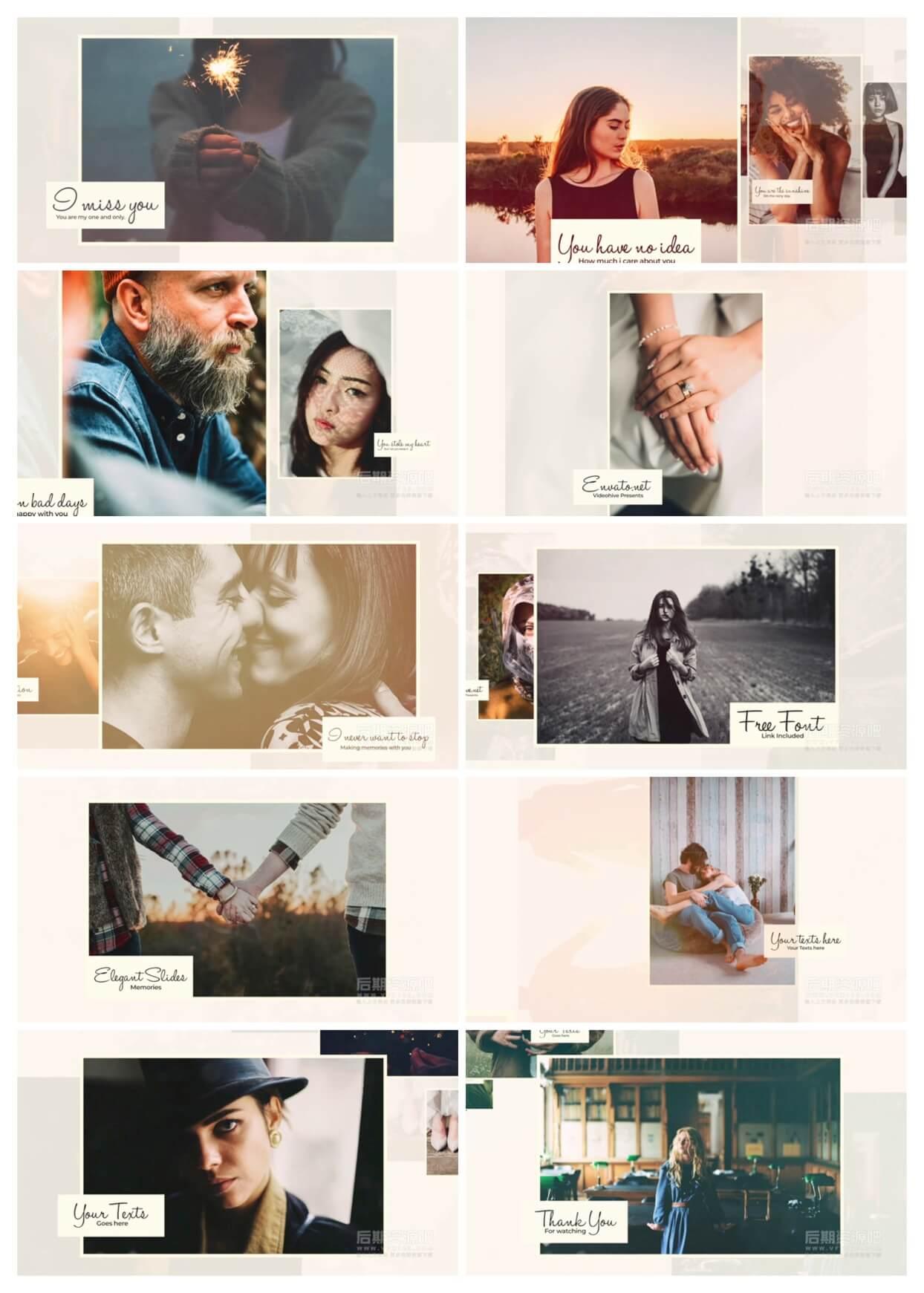 fcpx插件 优雅舒缓温馨电子相册图文展示模板 Elegant Moments Slideshow
