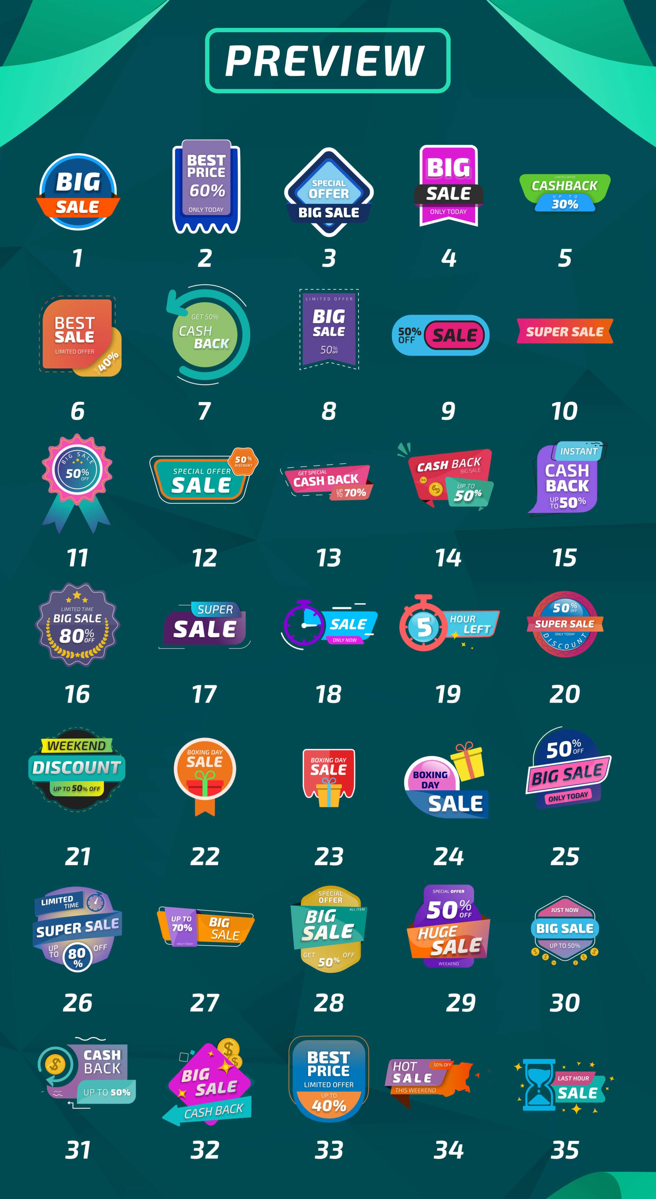 AE模板 35组彩色流行商品促销标签标题动画 Sale Labels