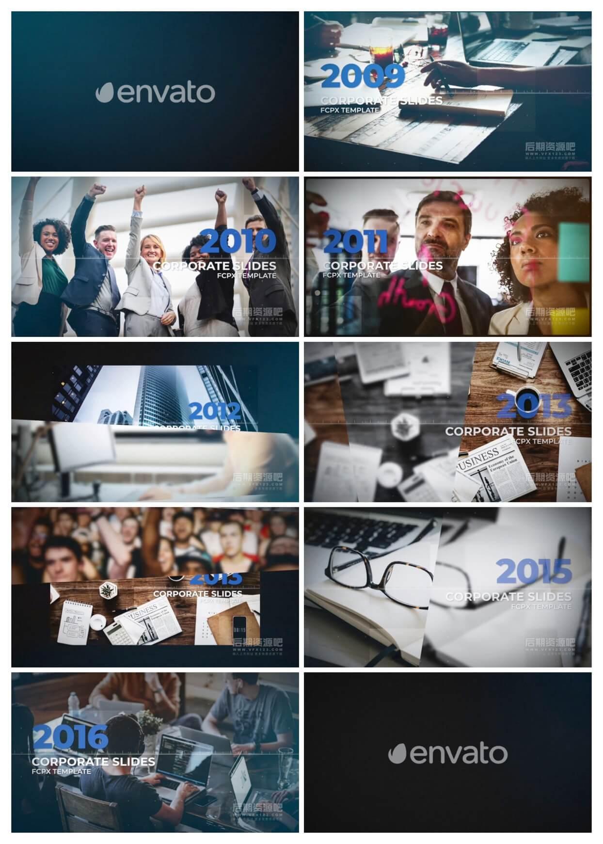 fcpx插件 公司企业发展历程时间轴图文展示模板 Corporate Timeline Slides