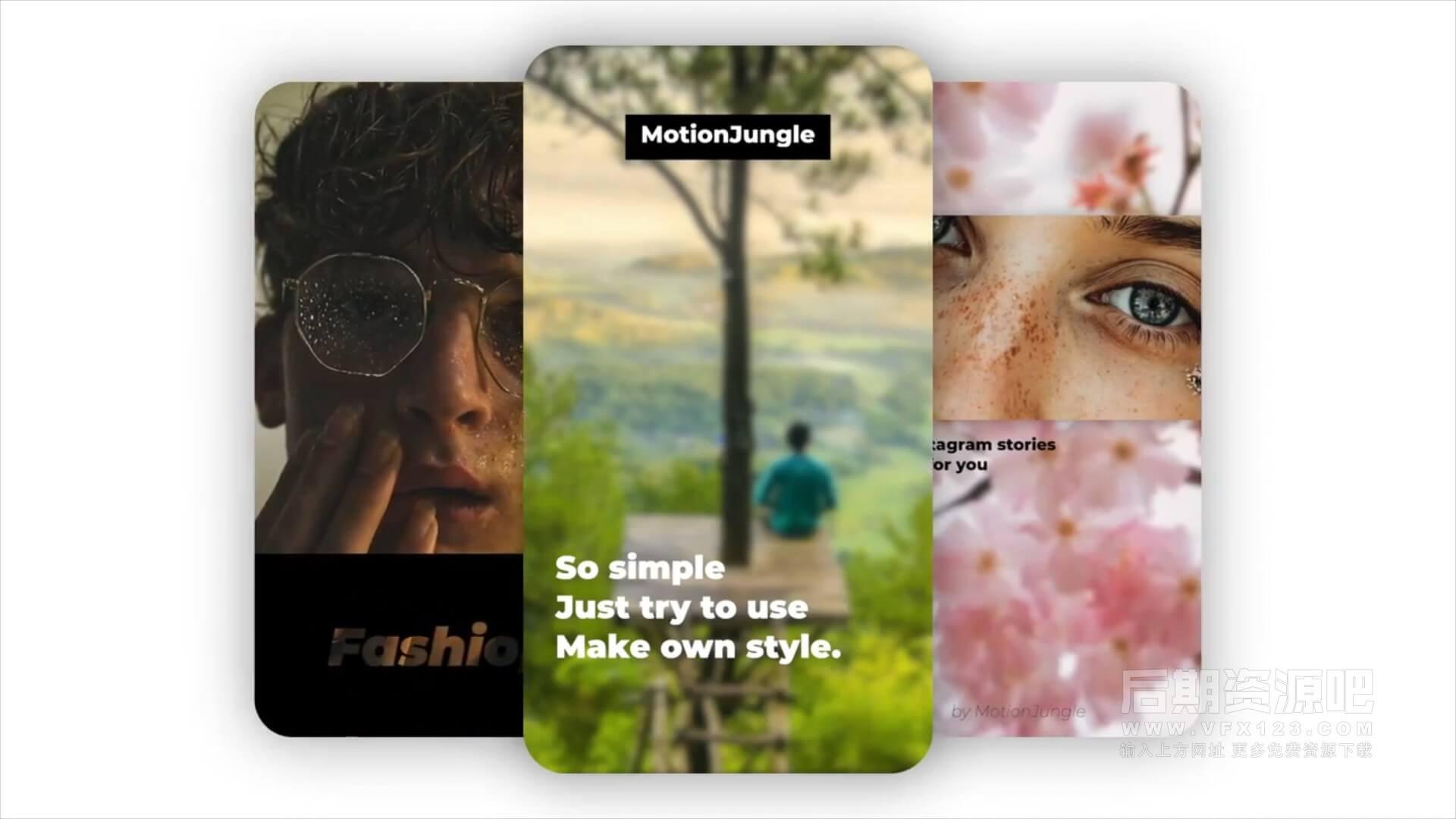 fcpx插件 8组时尚竖屏短视频片头模板 Fashion Ins Stories