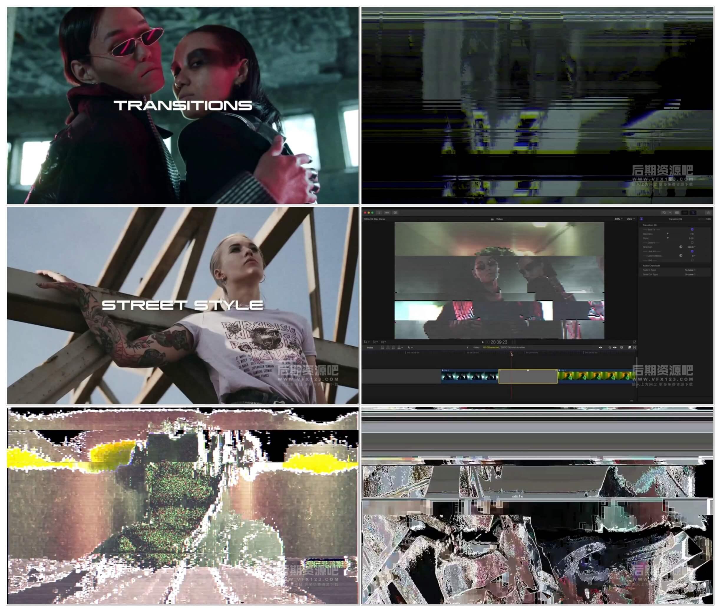 fcpx插件 15组4K故障干扰效果VHS风格过渡转场 VHS Glitch Transitions