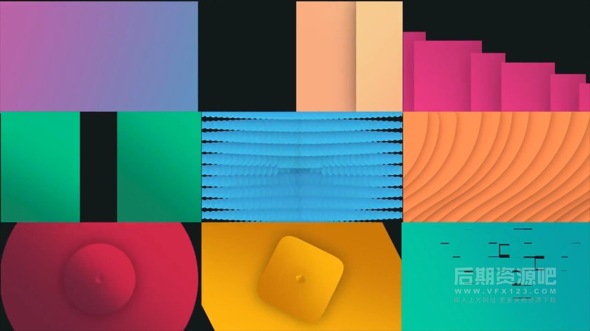 Fcpx插件 16个时尚彩色形状图形过渡转场 Trendy Shape Transitions