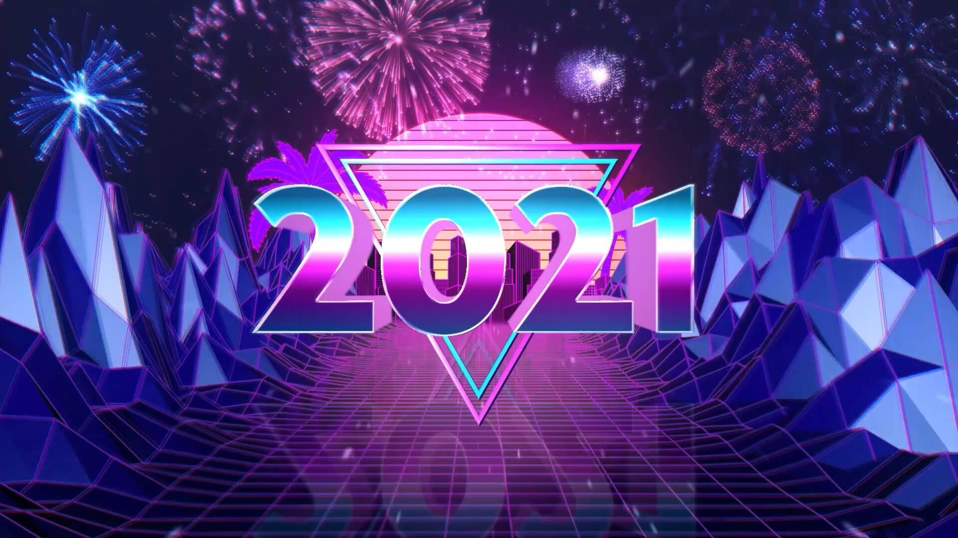 AE模板 2021年赛博朋克风格新年倒计时片头模板 New Year Countdown