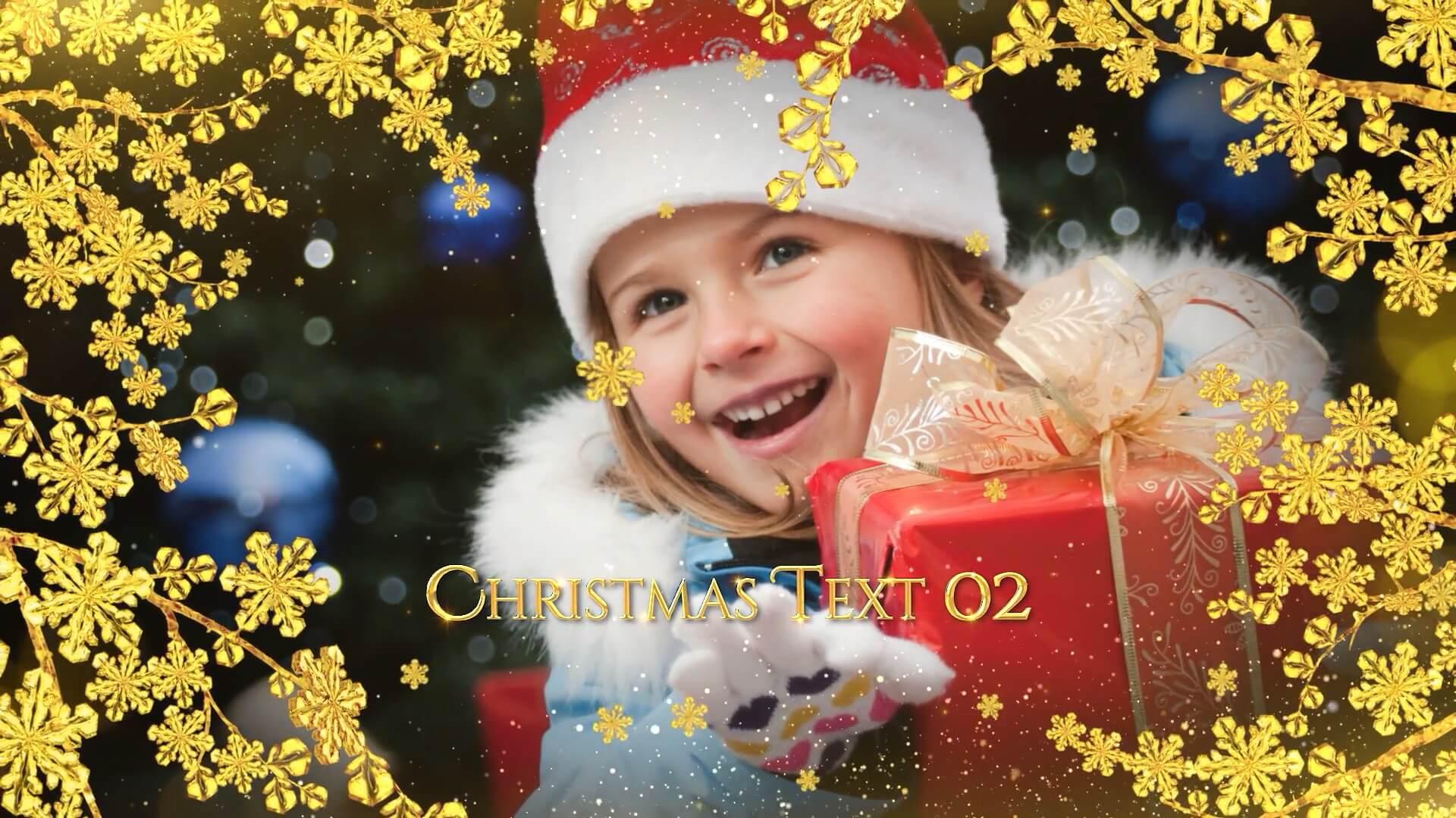 fcpx插件 圣诞节假期幻灯片相册金色图文展示模板 Christmas Slideshow