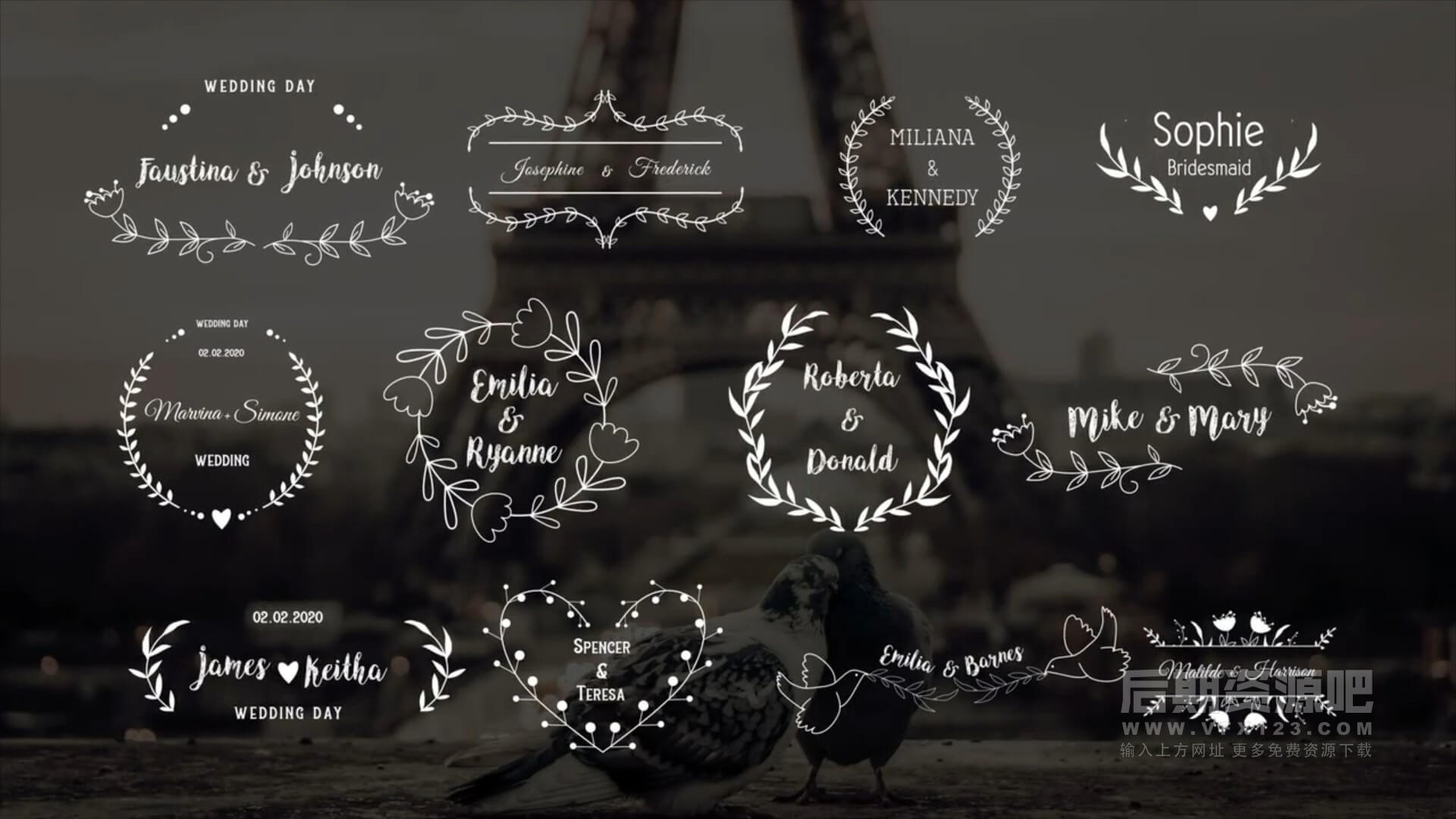fcpx插件 12组花纹边框婚礼人名婚期标题动画模板 Elegant Wedding Titles