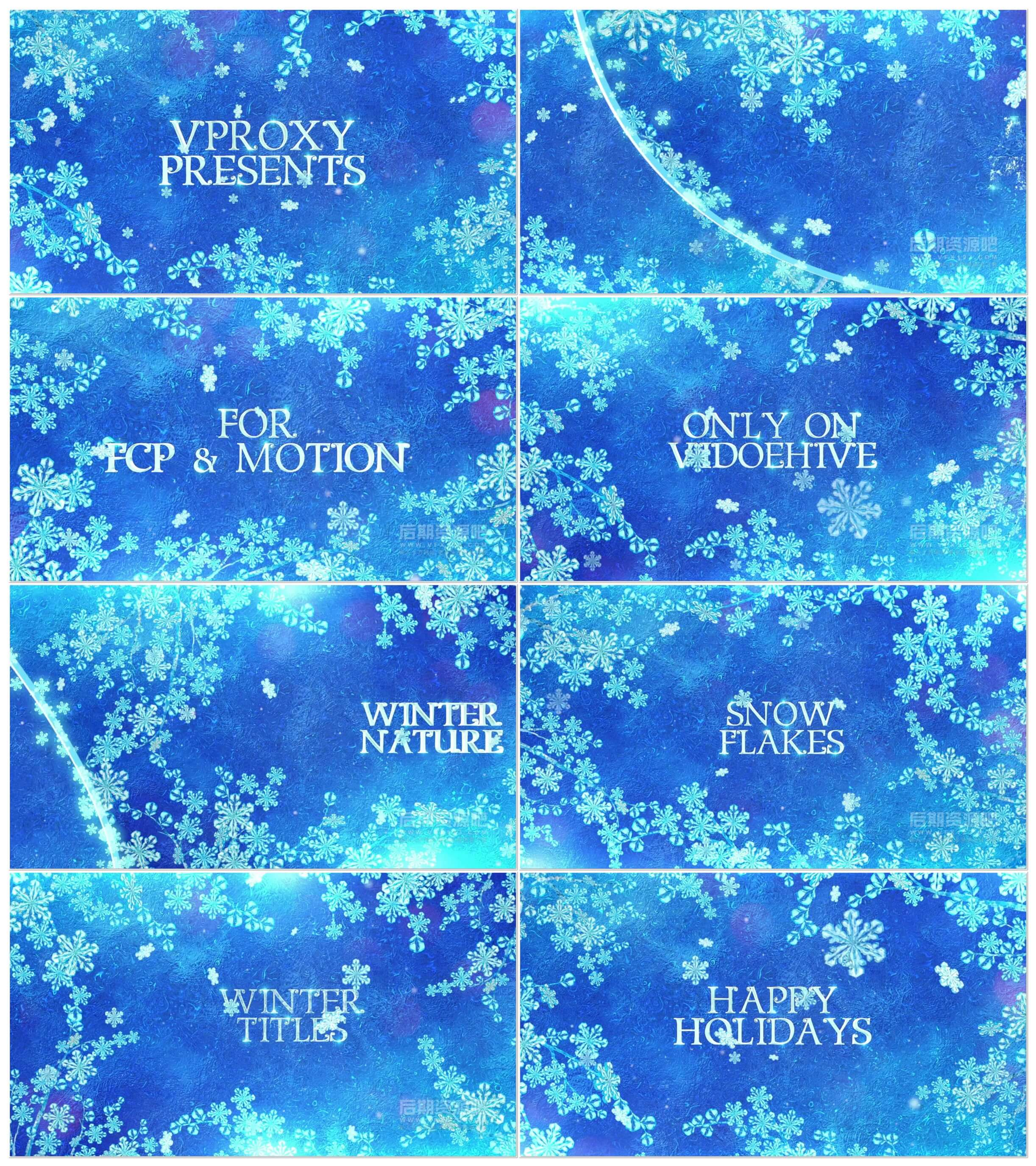 fcpx插件 冰凌雪花冬日祝福圣诞节新年片头模板 Winter Titles