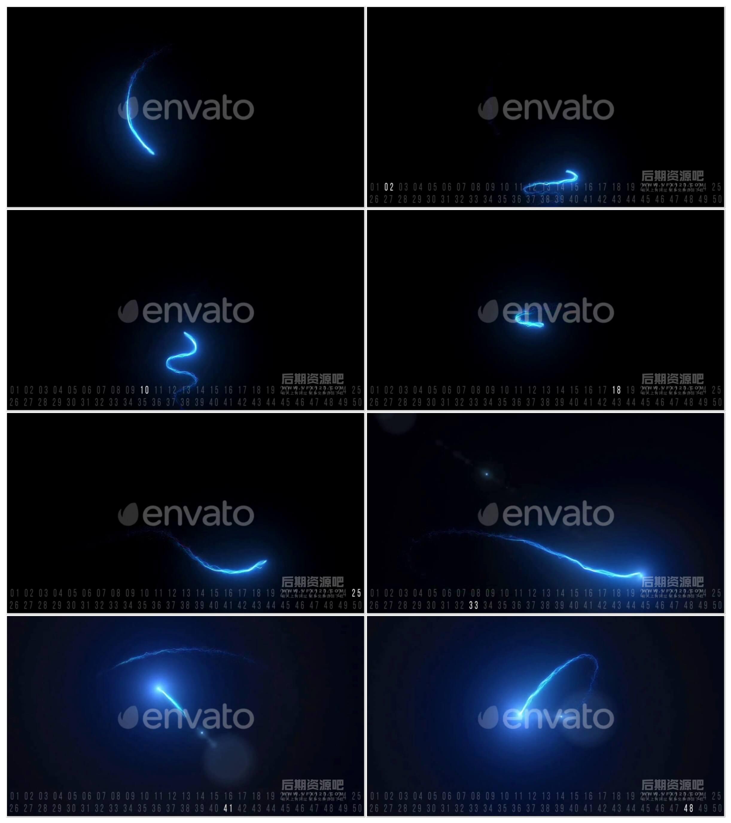 视频素材 50个优雅辉光粒子线条图形动画素材 Elegant Light Streaks