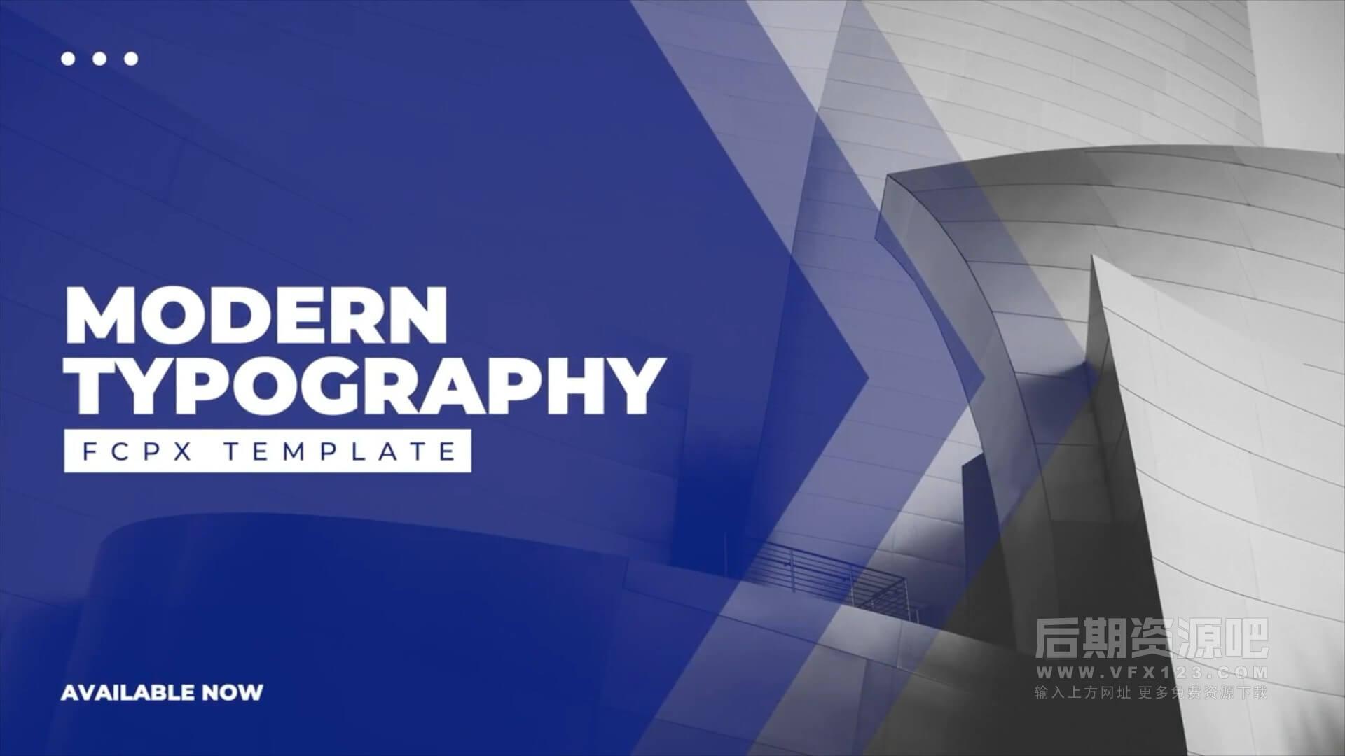 fcpx插件 9组标题版式设计动画模板 Modern Typography Slides