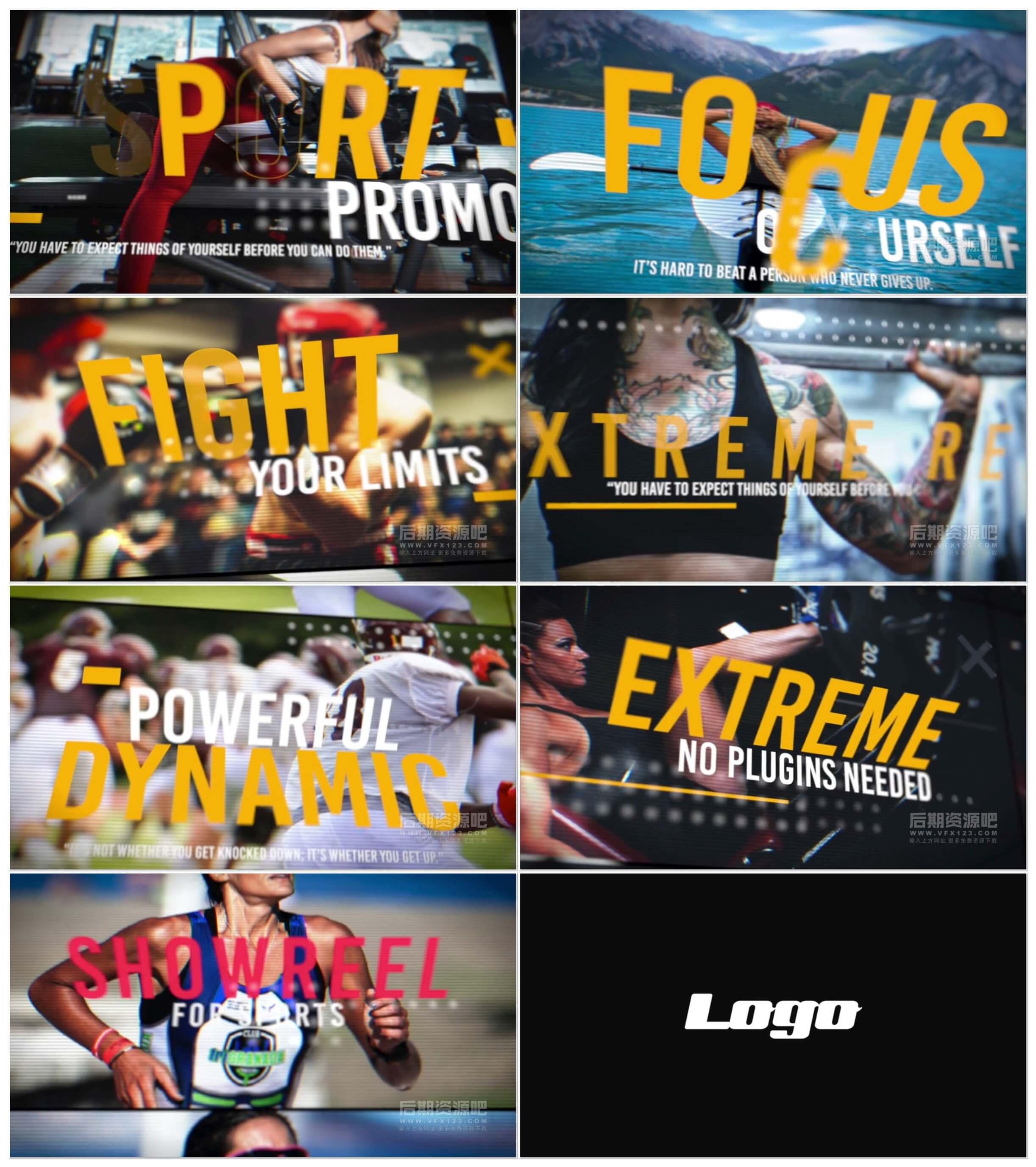 fcpx插件 激情体育运动类大标题推广片头模板 Sport Promo