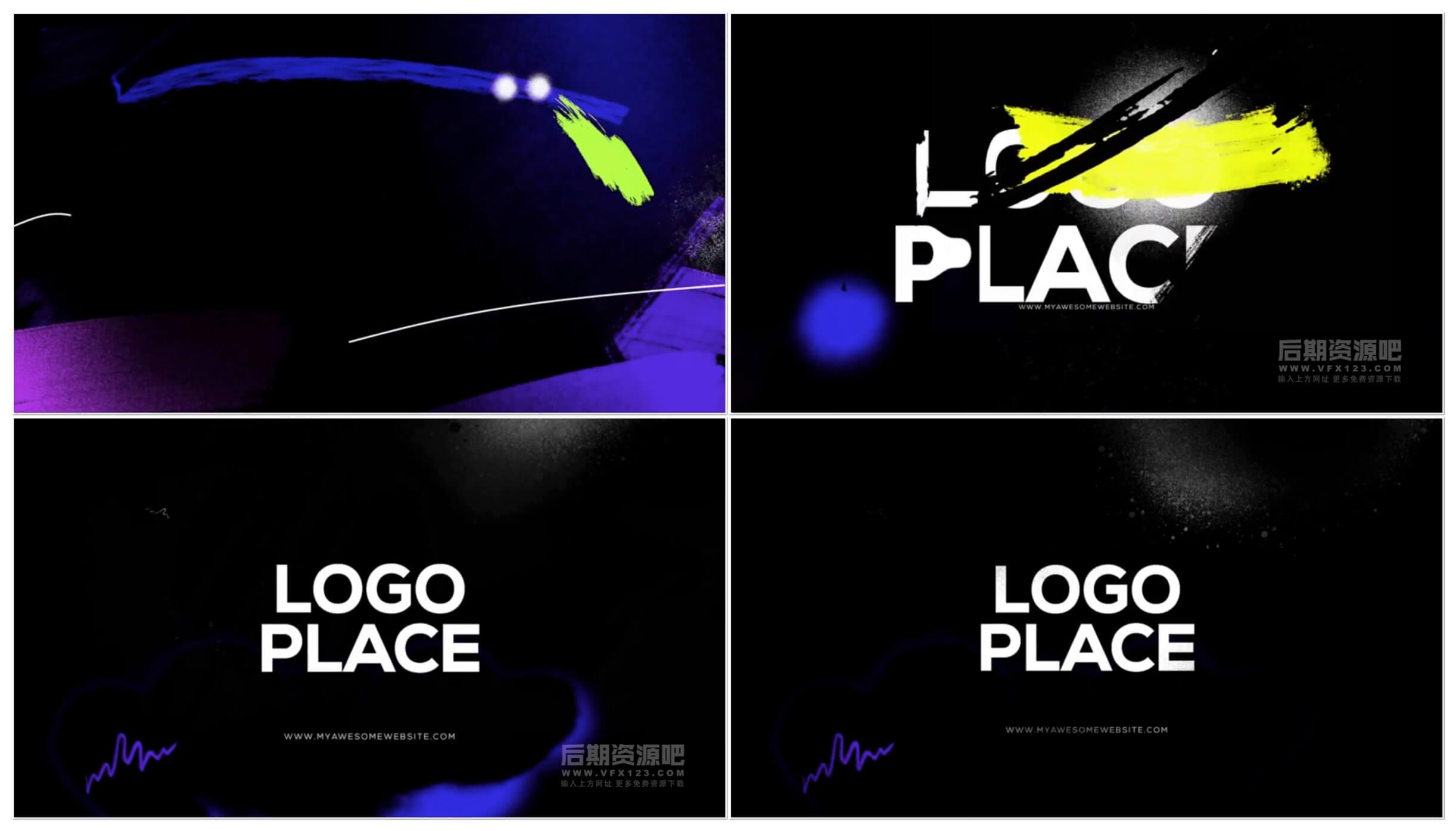 fcpx插件 复古扰乱胶片效果徽标LOGO展示片头模板 Glitch Logo Intro
