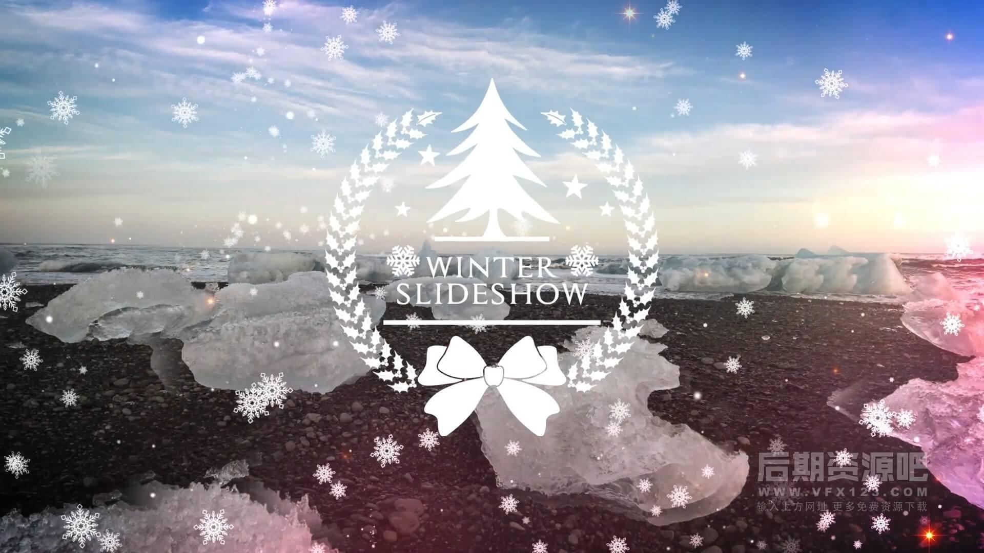 fcpx插件 圣诞节假日祝福图文展示片头模板 Winter Slideshow