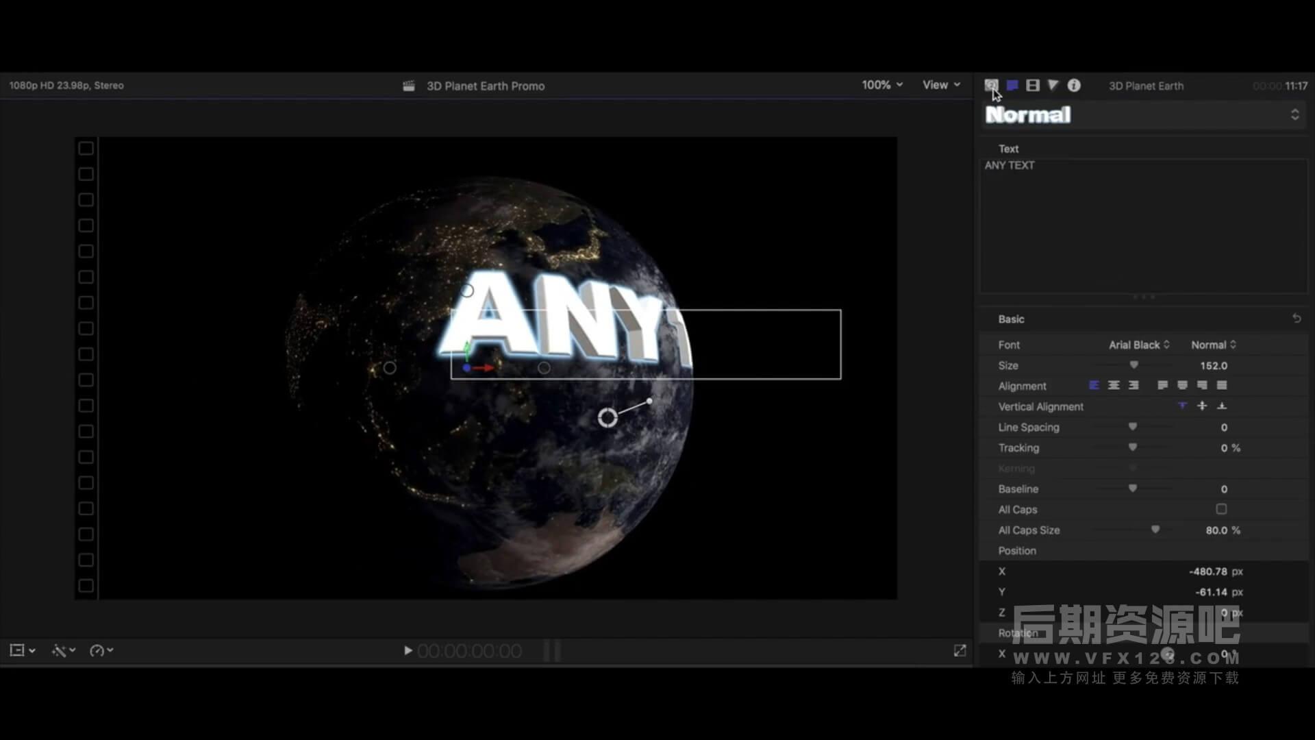 fcpx插件 3D地球旋转环绕标题动画生成工具 3D Planet Earth