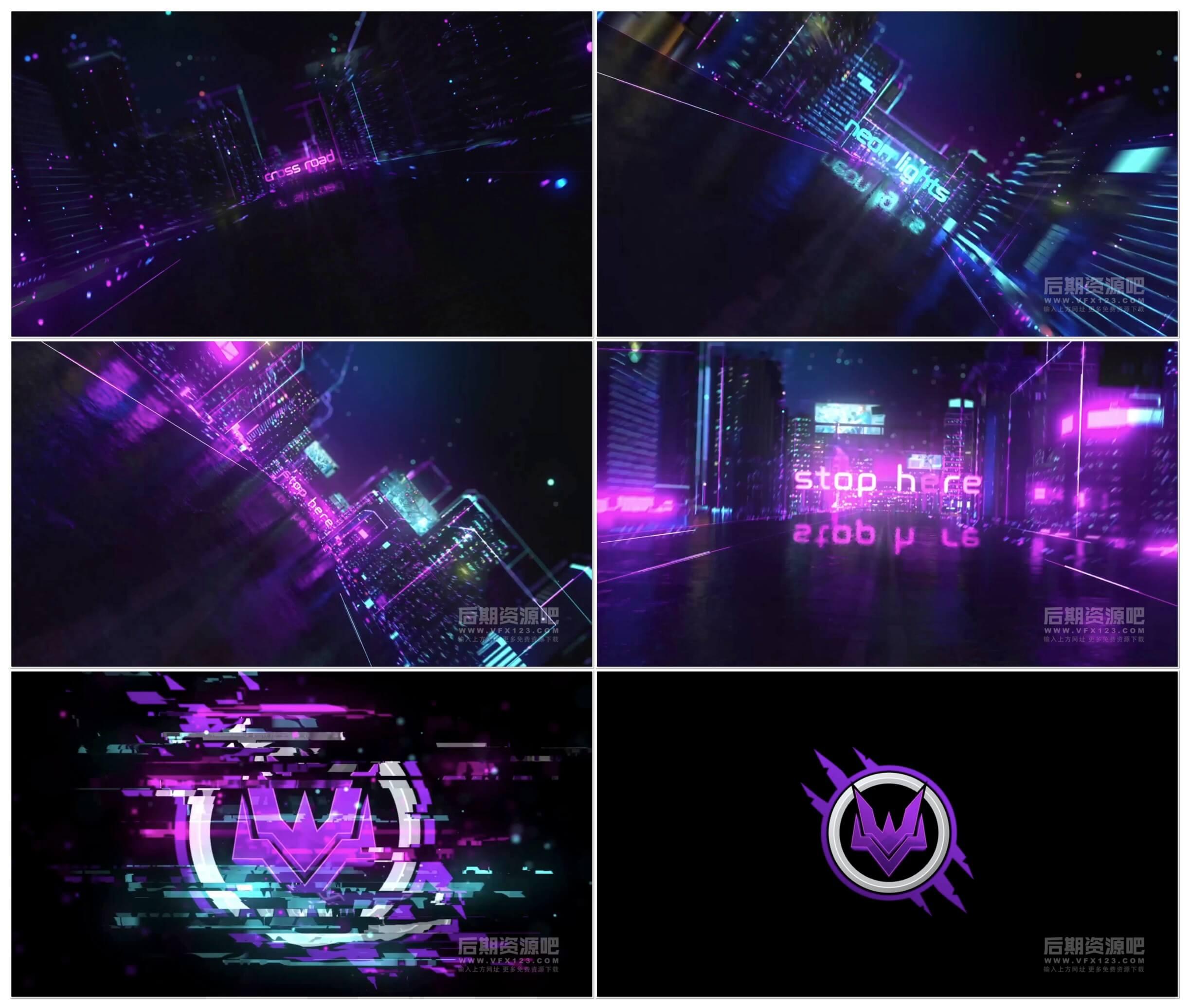 AE模板 赛博朋克风格科幻电影片头模板 Cyberpunk Opener