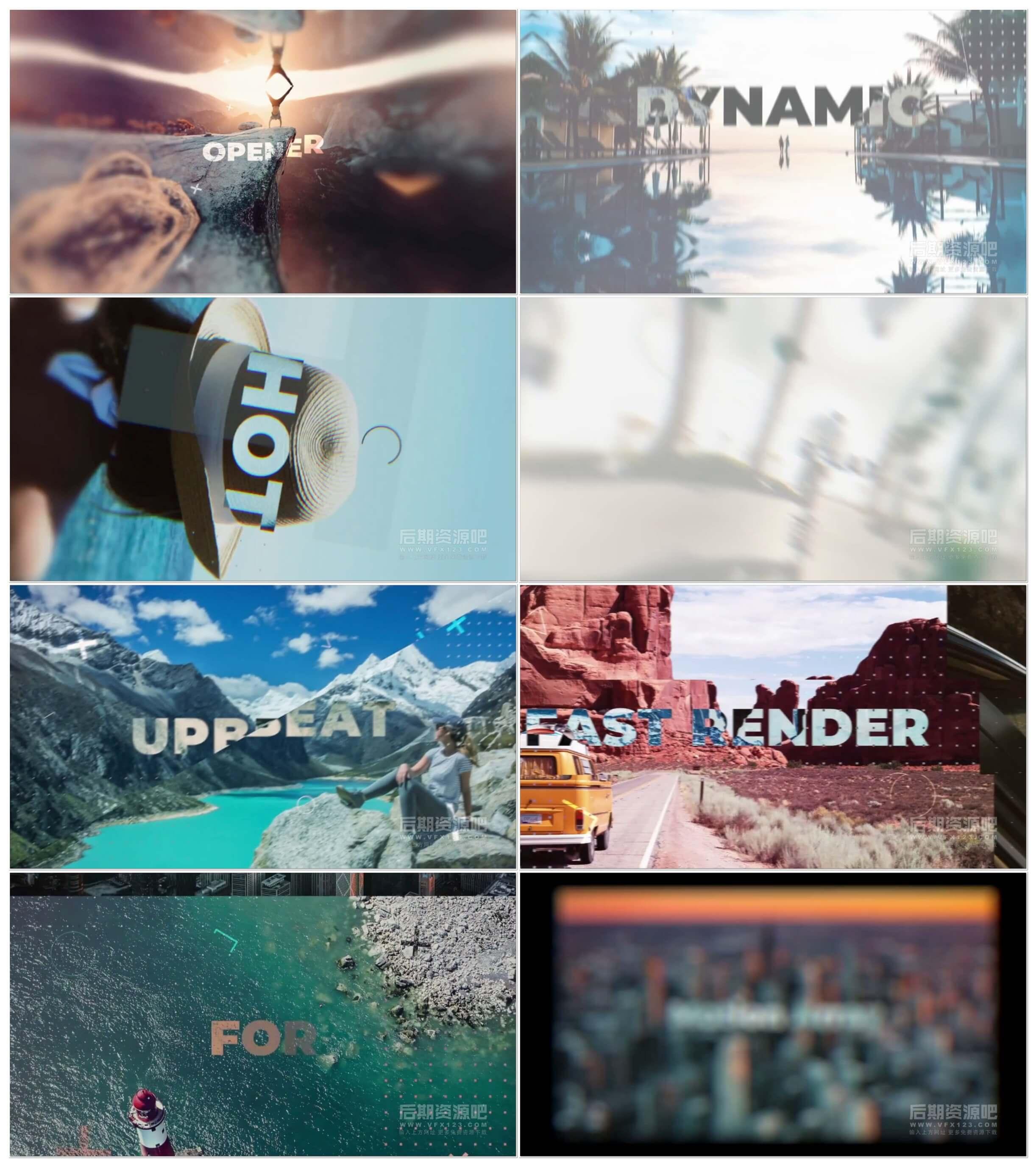 fcpx插件 炫酷快节奏预告片片头常用素材包 带工程文件 Summer Opener