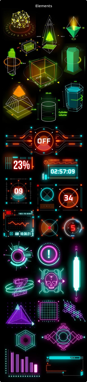 AE脚本 523个HUD科技感赛博朋克霓虹发光UI元素图形动画 Cyberpunk