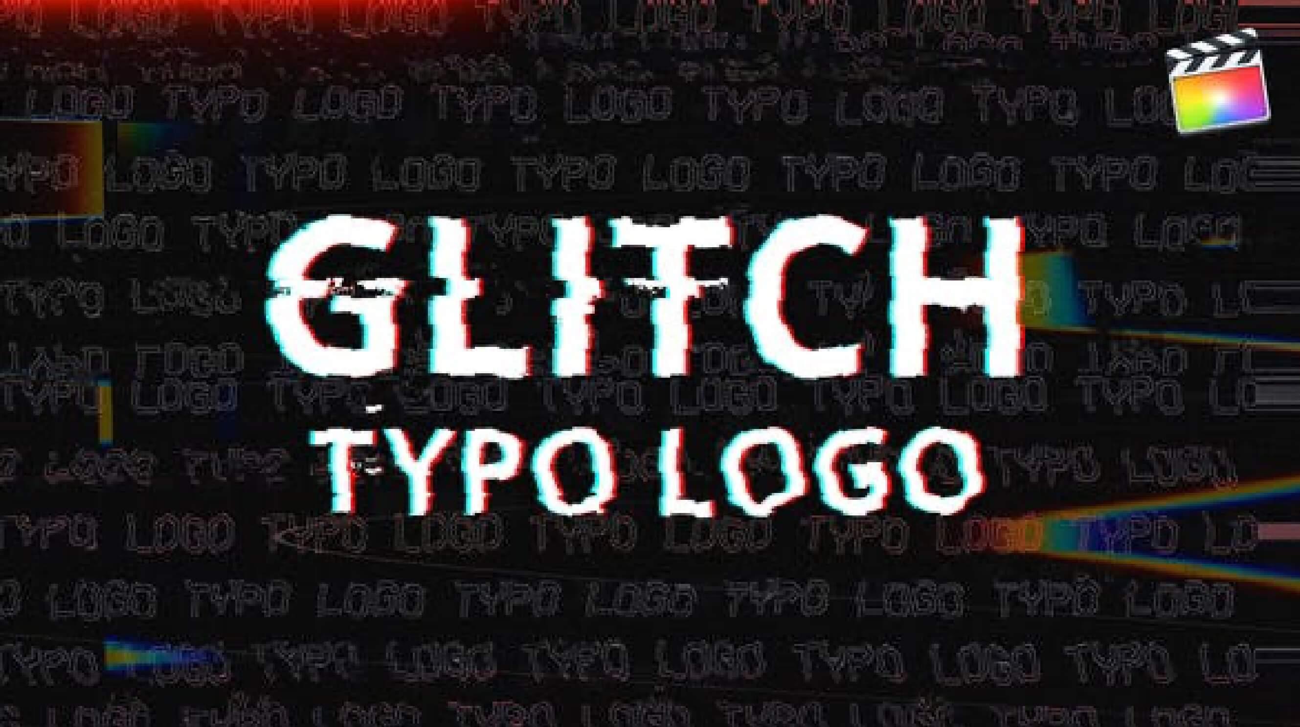 fcpx插件 复古故障干扰效果徽标LOGO展示片头模板 Glitch Typo Logo