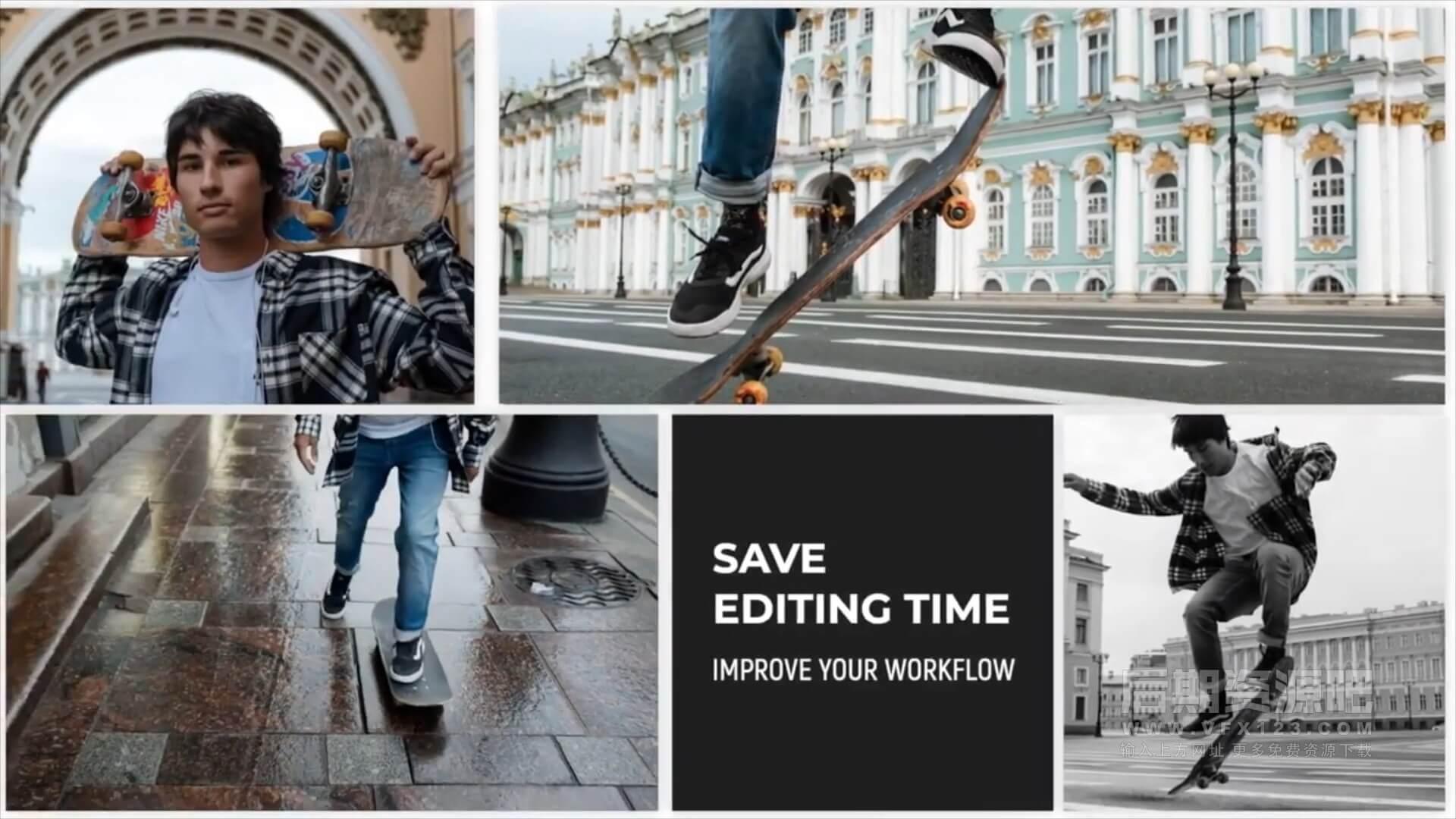 fcpx插件 60种分屏样式标题版式设计模板+5个背景预设 Video Collage