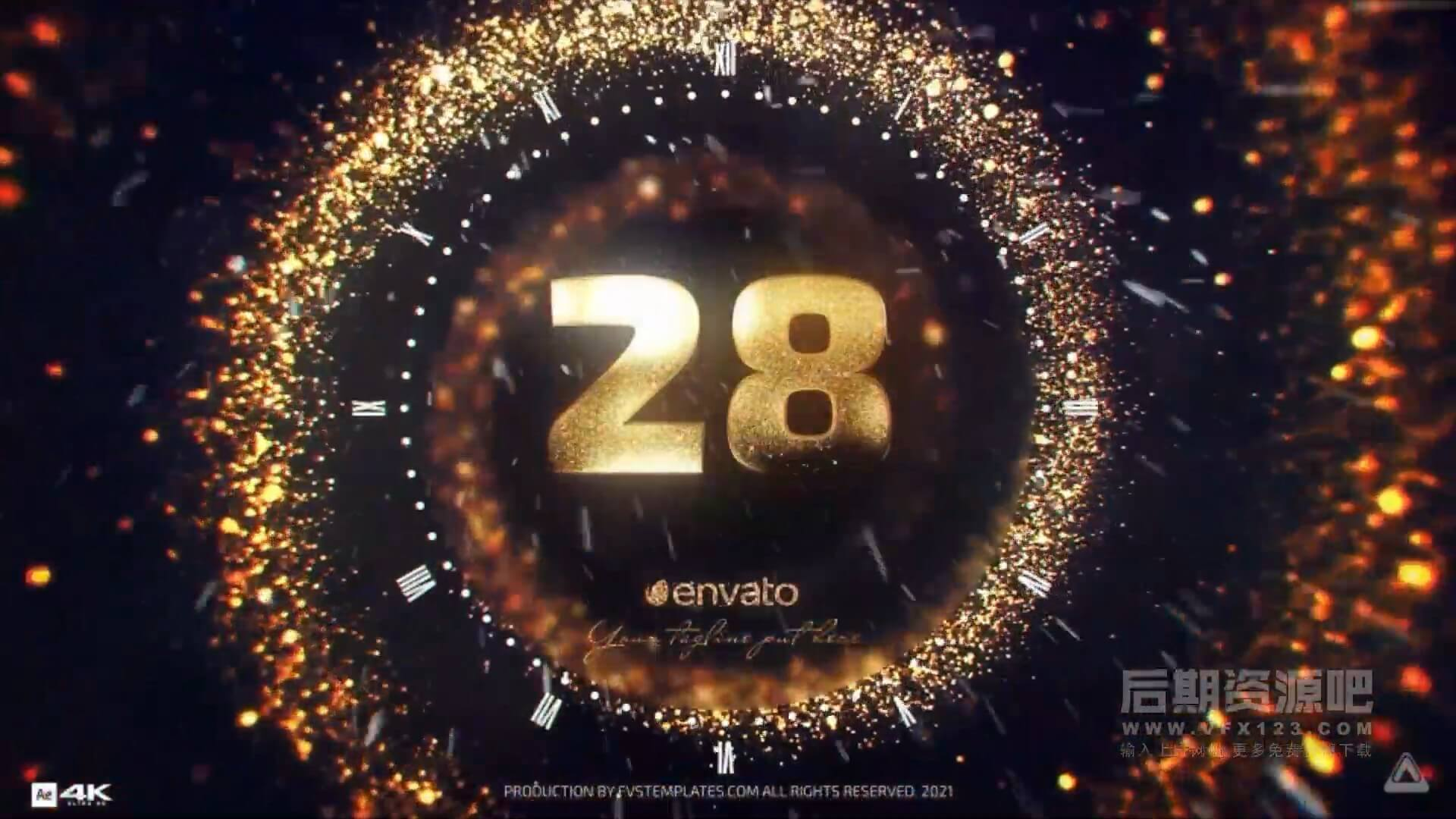 AE模板 2021年金色粒子新年倒计时 新年快乐 Golden New Year Countdown 2021