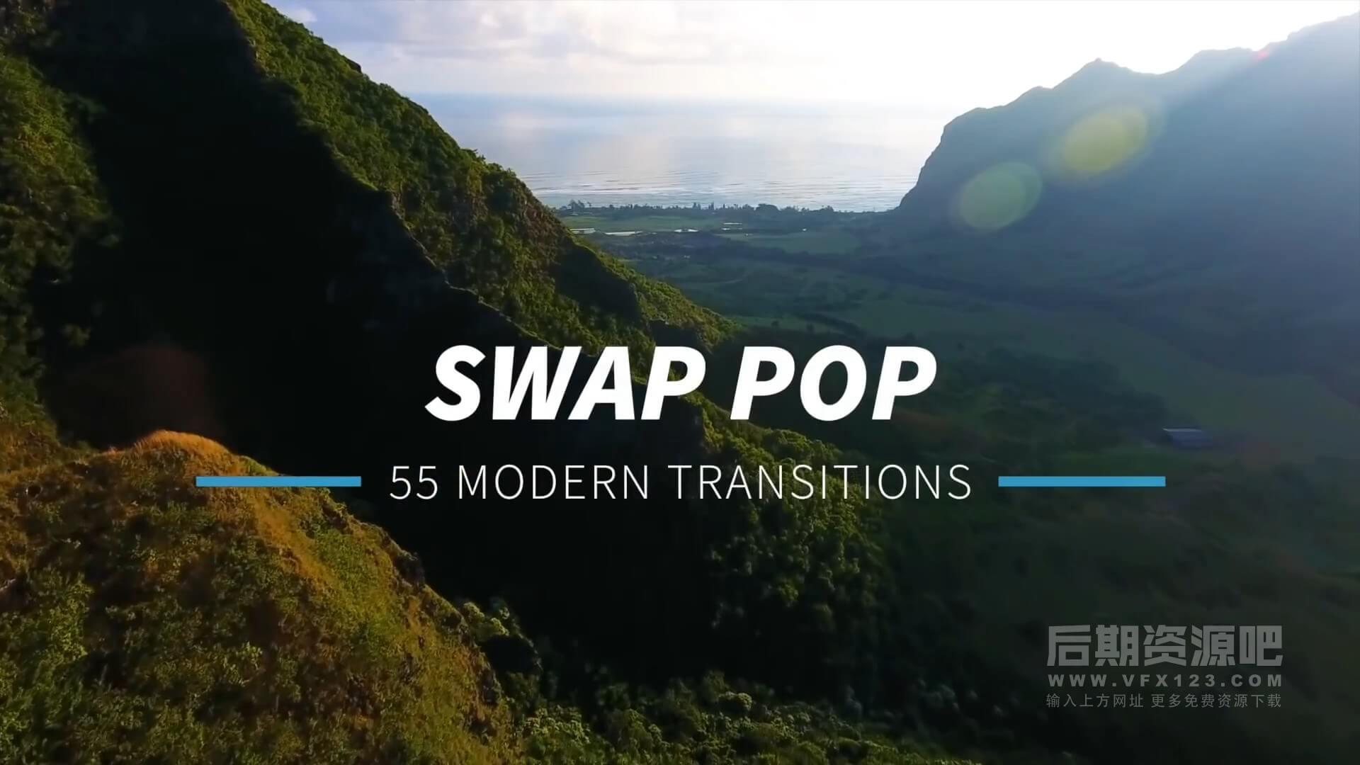 fcpx插件 55组简约创意商务风格过渡转场 支持M1 Swap Pop