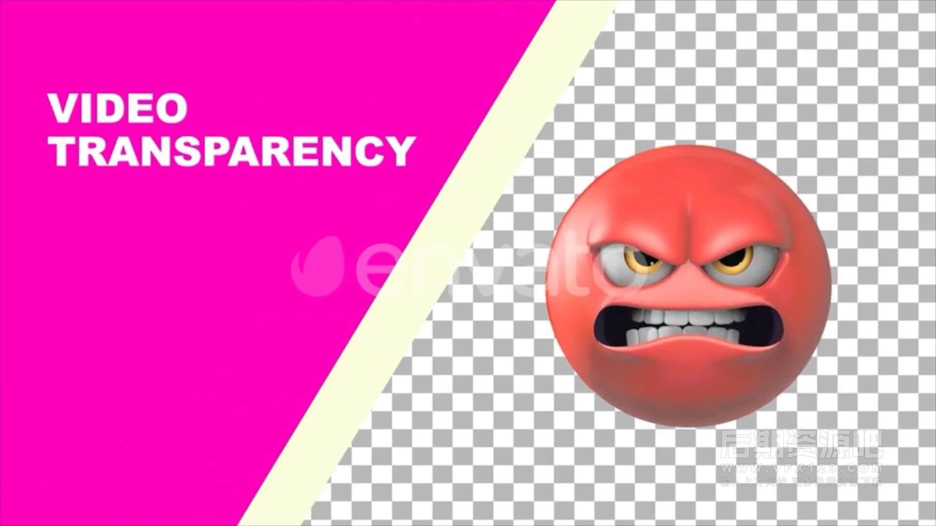 视频素材 100个3D卡通搞怪Emojis表情动画 带通道可循环 Classic And New Emojis