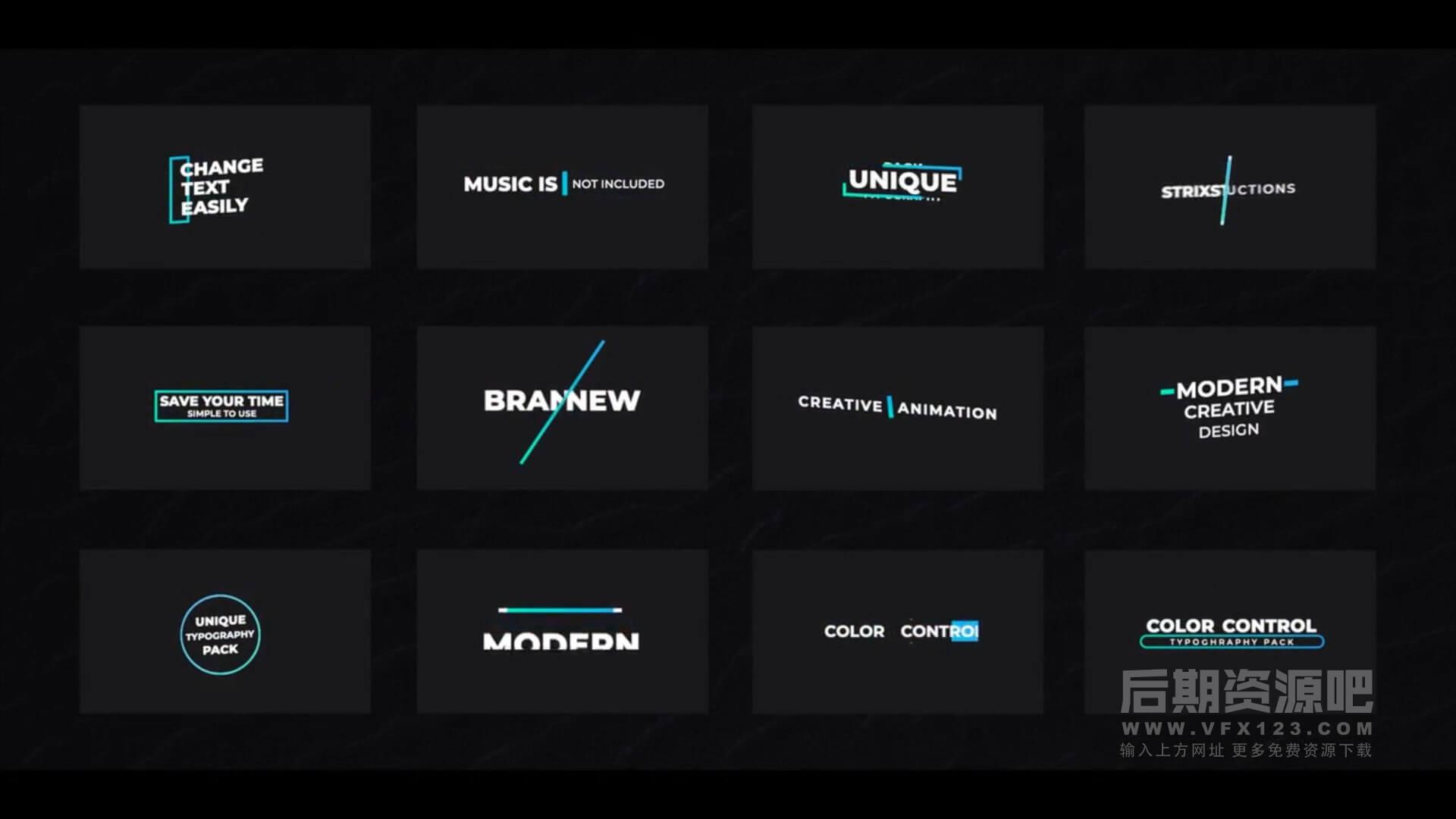 fcpx插件 12组简洁现代文字标题排版动画预设 Creative Titles