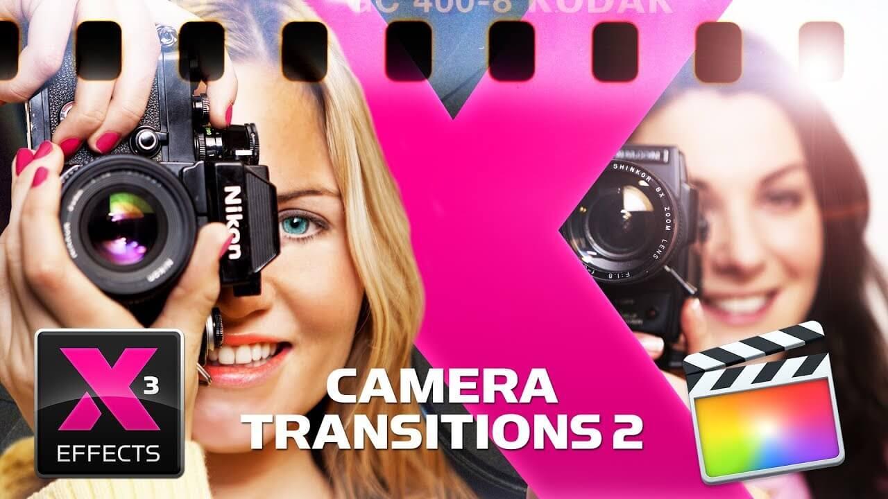 fcpx插件 影片添加相机取景快门动作屏显边框效果+胶片转场 Camera Transitions 2