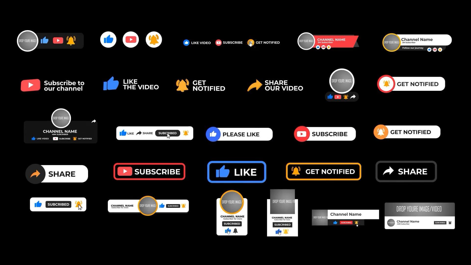 fcpx插件 视频博主常用推广素材包 点赞订阅分享喜欢铃铛头像动画