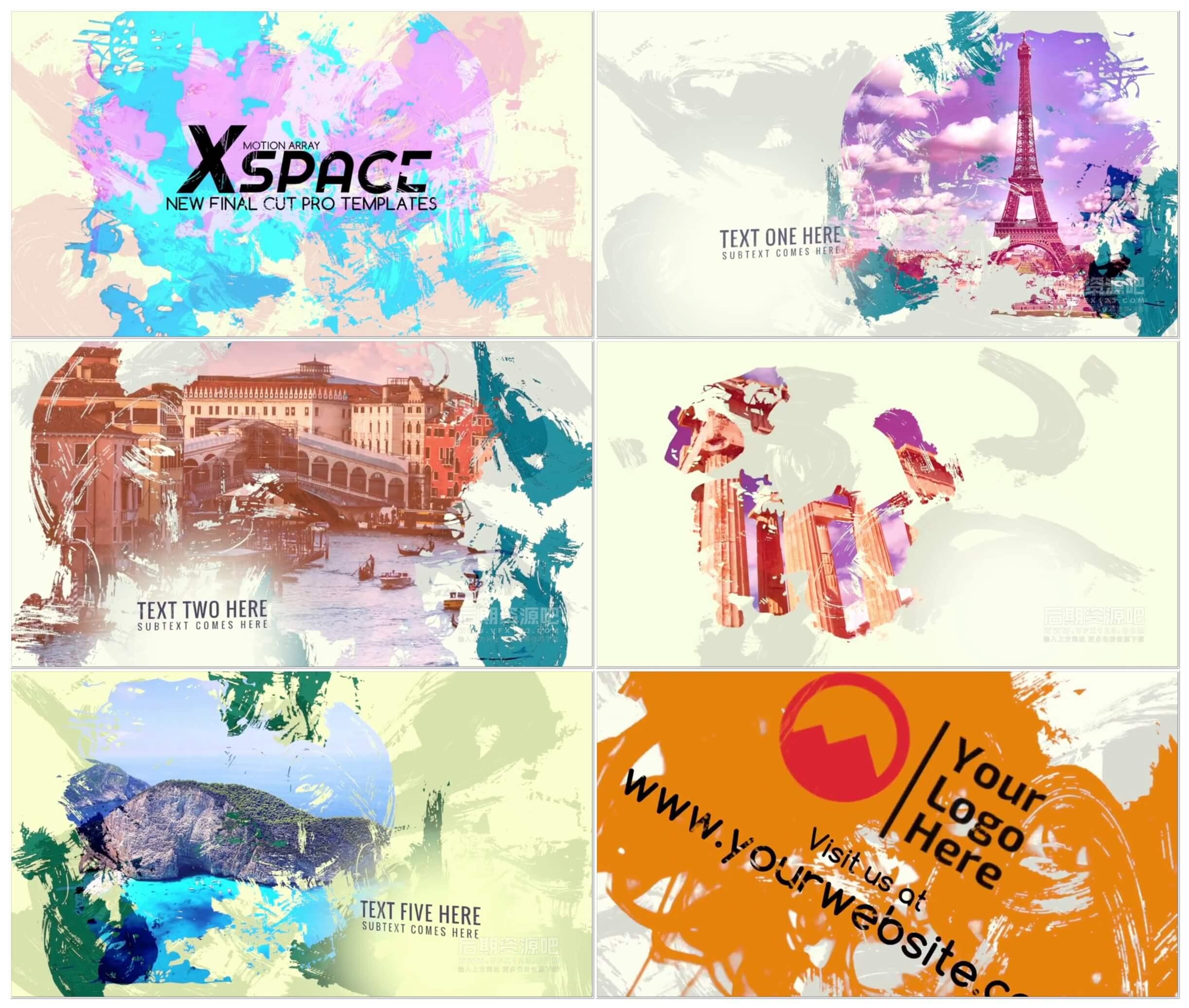 fcpx插件 涂抹笔刷过渡效果图文展示片头模板 Paint Slideshow