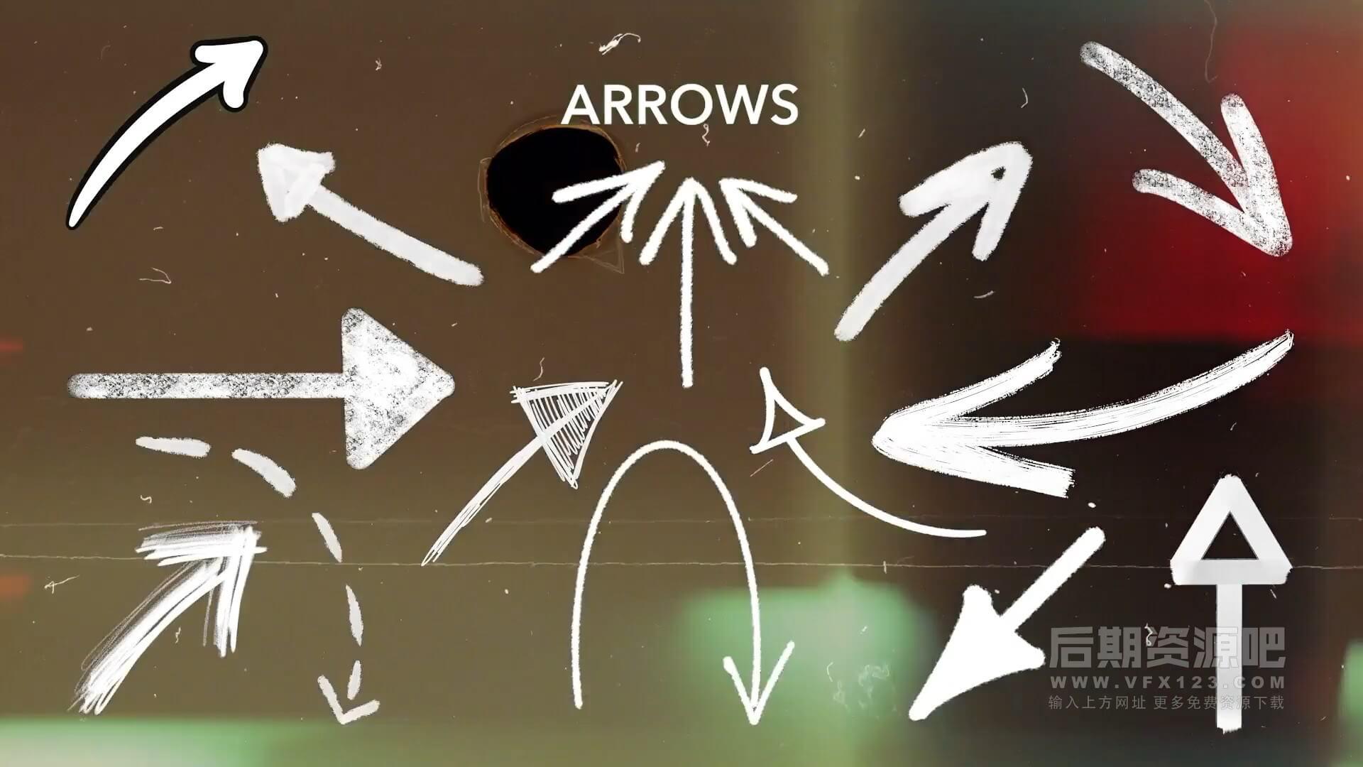 动态素材 370+手绘涂鸦箭头圆圈线条形状划痕笔刷标记等 ANIMATED MARKERS
