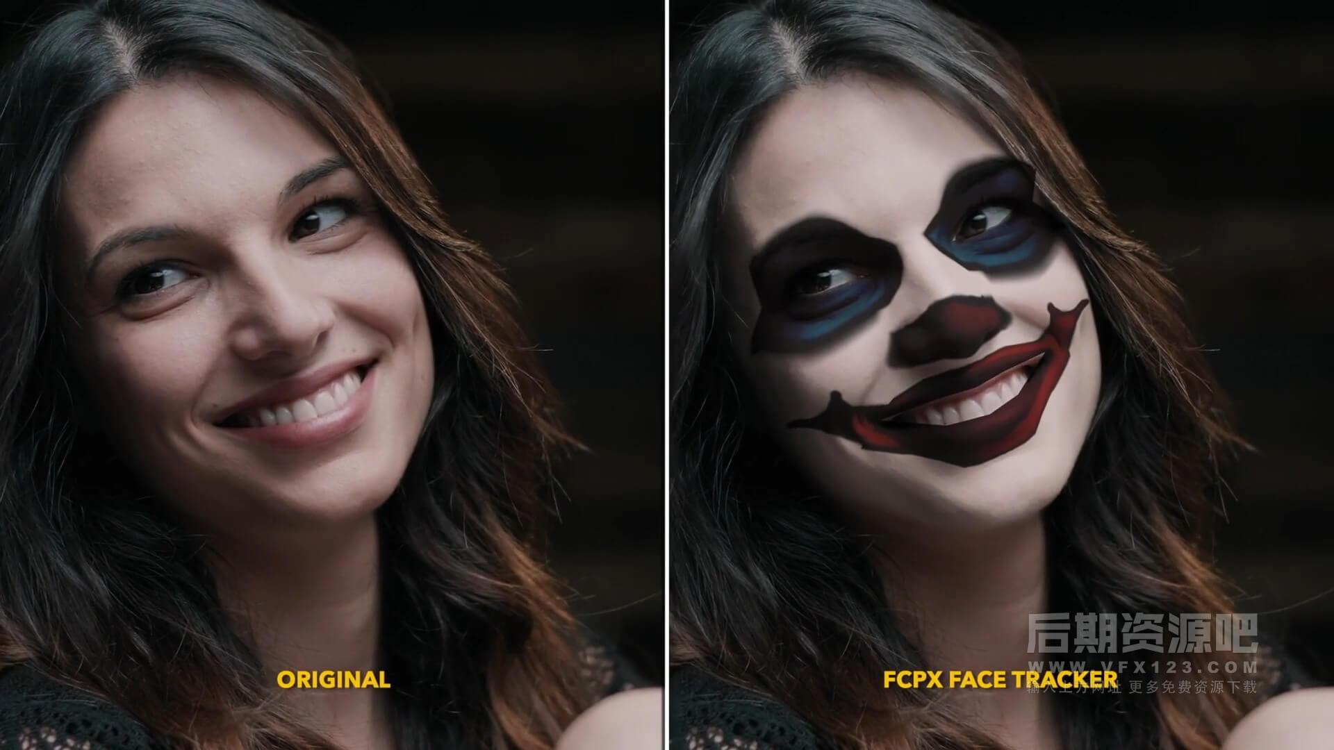 fcpx插件 面部跟踪工具自定义皮肤贴图美容化妆等 FCPX Face Tracker