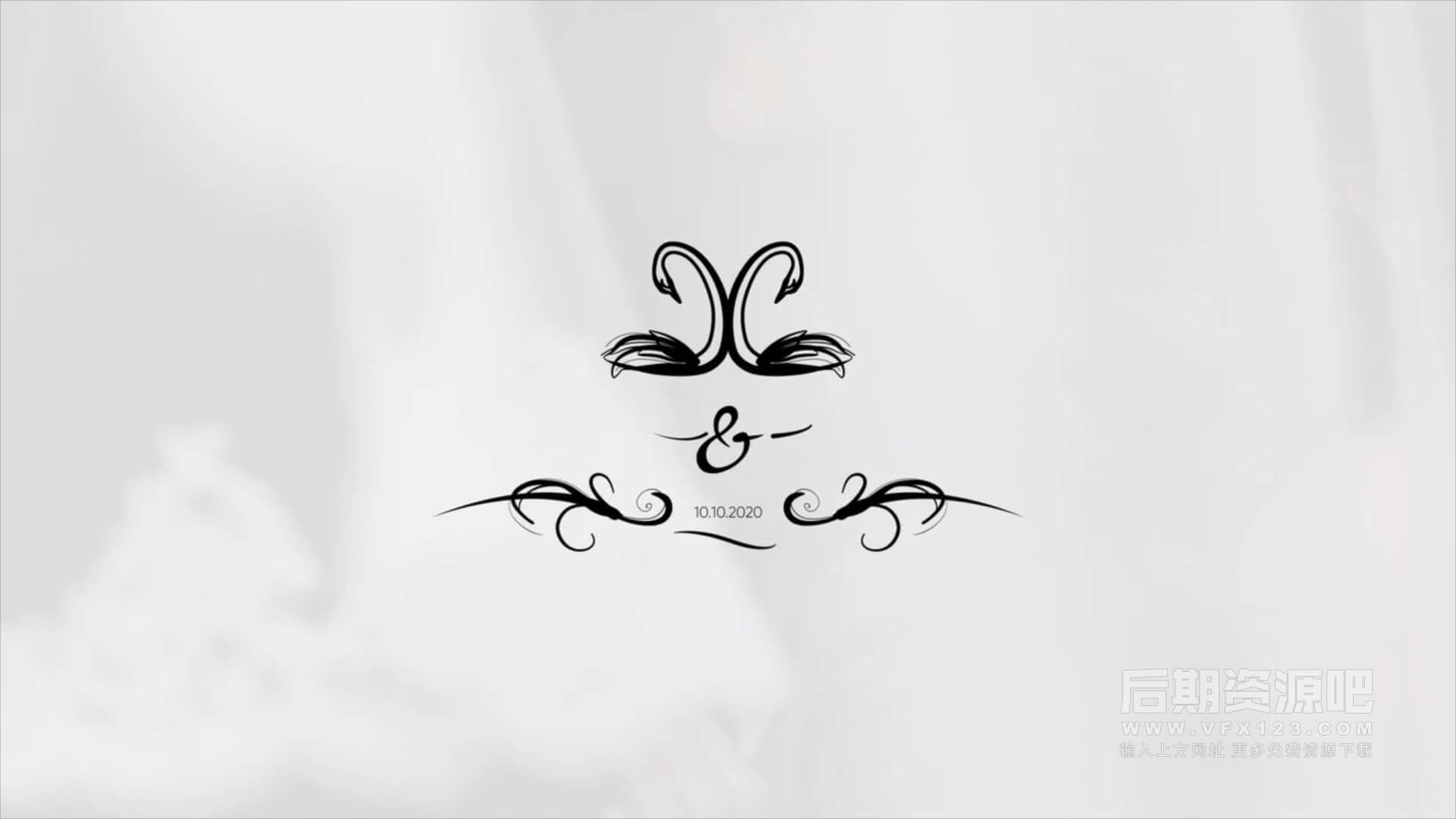 fcpx插件 4K时尚手绘婚礼标题人名日期模板 Wedding Titles