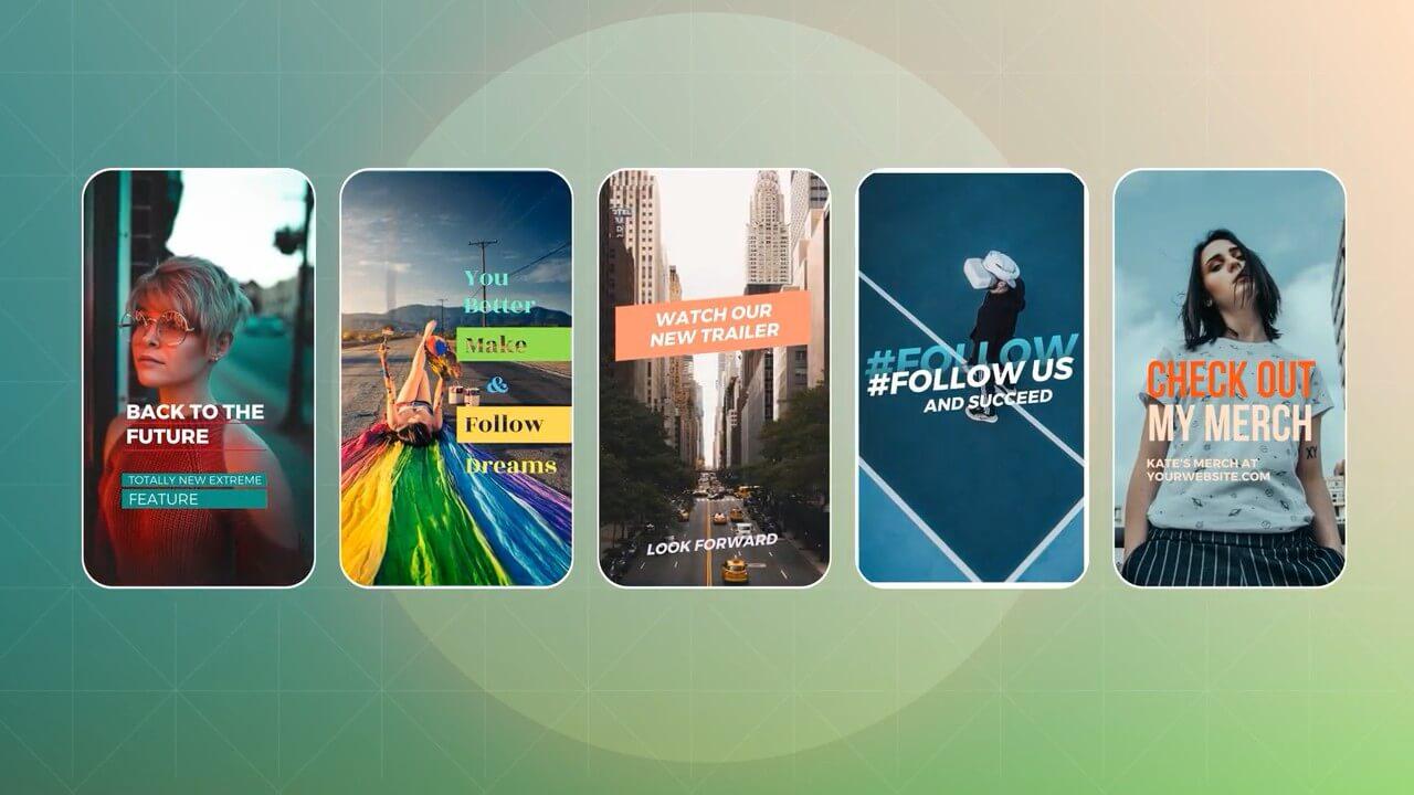 fcpx插件 40组手机短视频竖屏图文展示片头模板 Ins Stories Pack