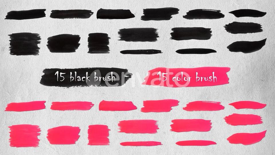 视频素材 手绘画笔描边笔刷动画 带通道 Brush Strokes Elements