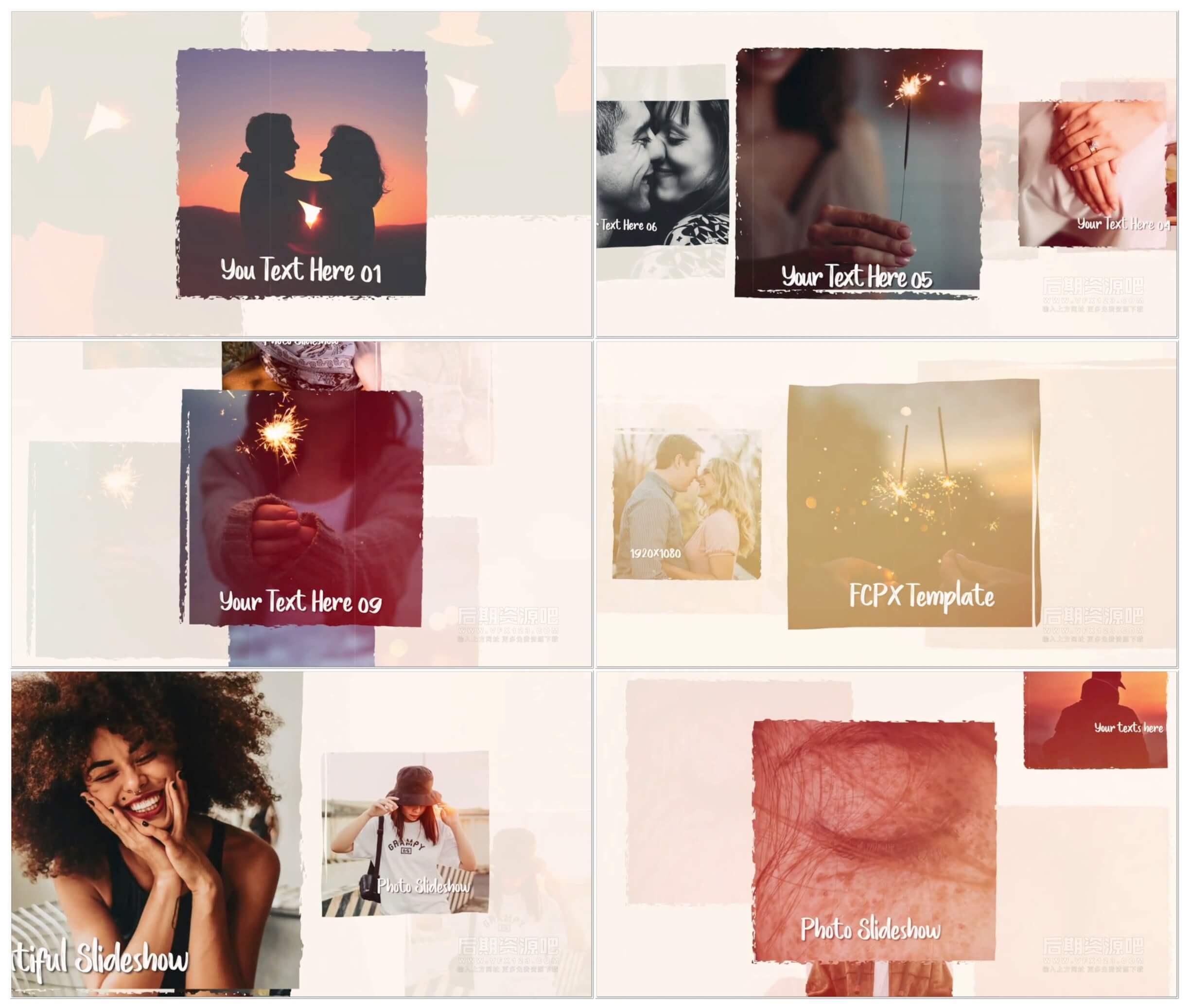 fcpx插件 舒缓温馨优雅电子相册图文展示模板 Elegant Moments Slideshow