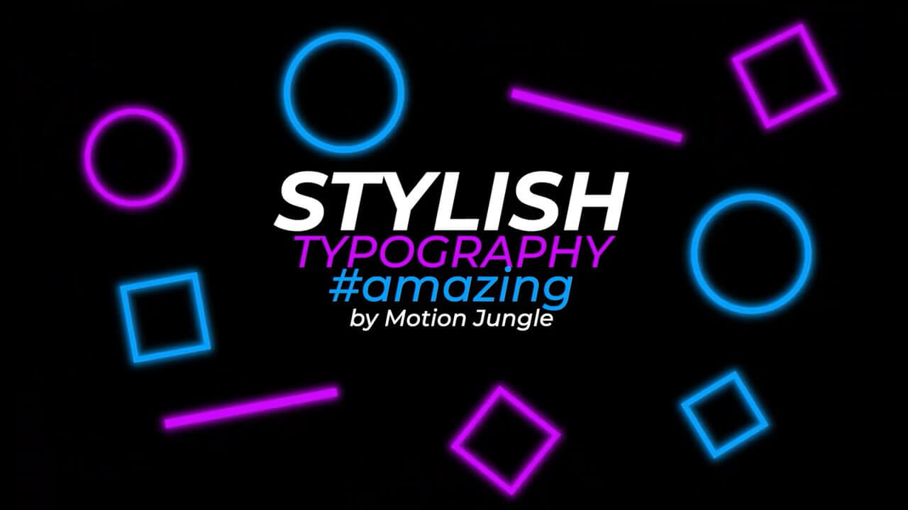 fcpx插件 霓虹灯效果装饰图文版式设计动画模板 Typography