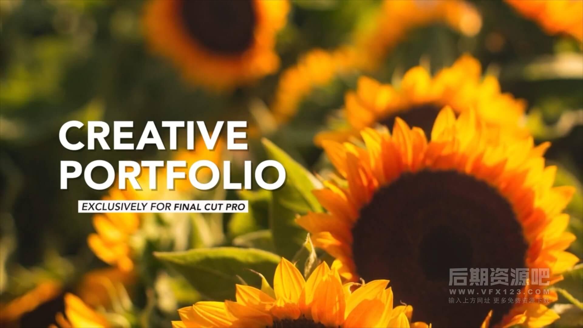 fcpx插件 11组创意版式设计图文展示分镜模板 Creative Portfolio