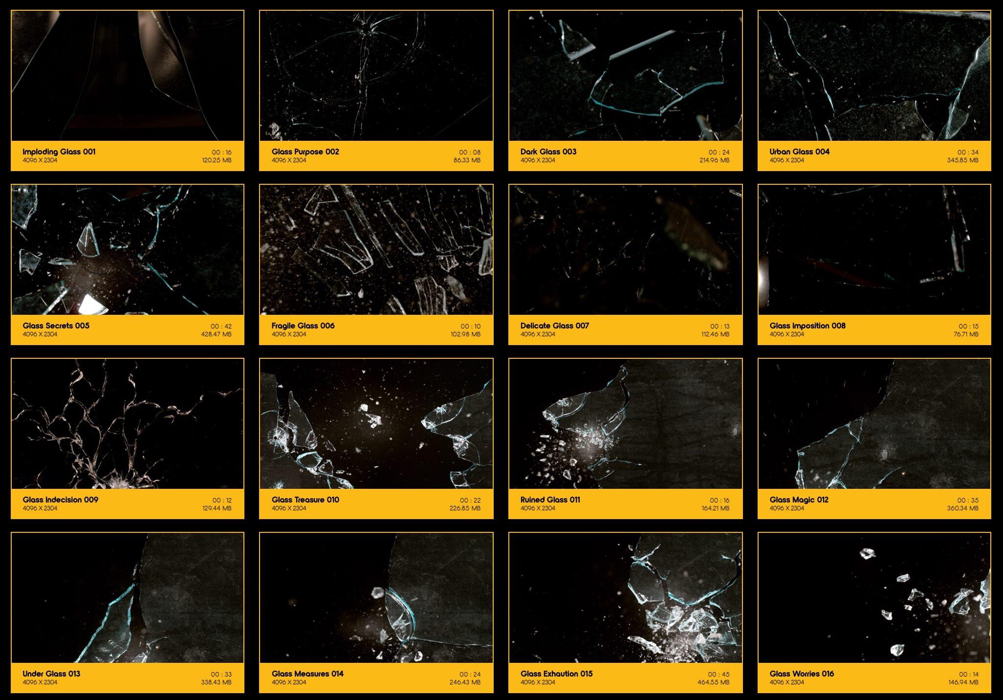 视频素材 184个4K玻璃撞击炸裂破碎动画 特效合成素材 Glass Breaks BBV13