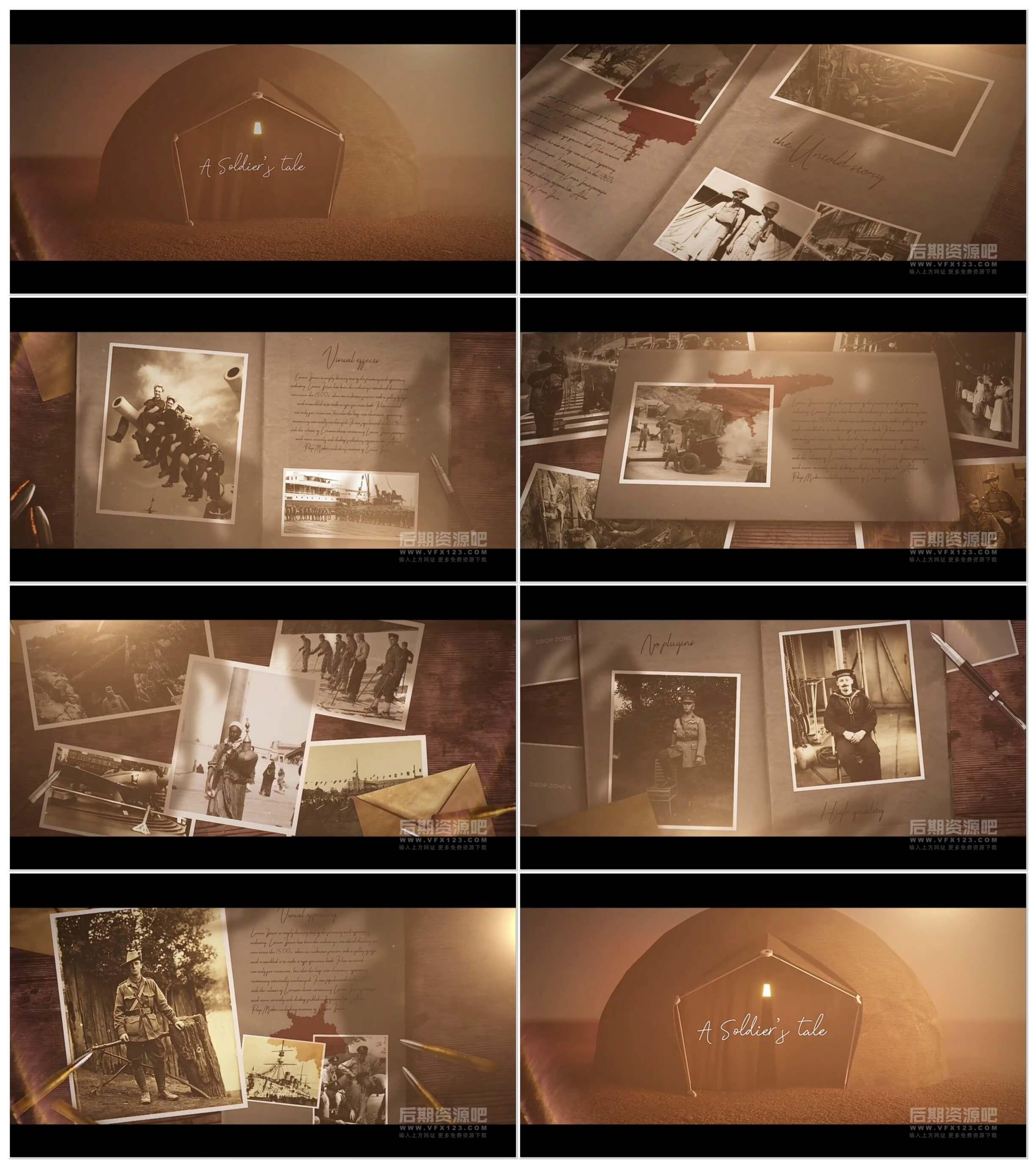 fcpx插件 沧桑历史回忆故事开场图文展示模板 12分镜 A Soldiers Tale