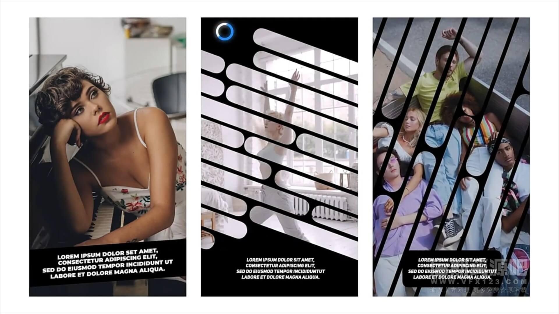 fcpx插件 21组短视频竖屏版式动画图文展示模板 Ins Stories
