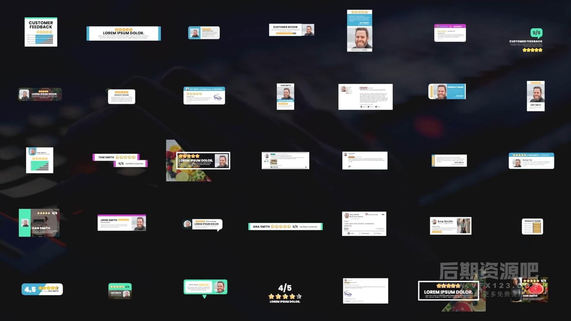 fcpx插件 35组评分星级评论回复标题模板动画 支持M1 Review Pop