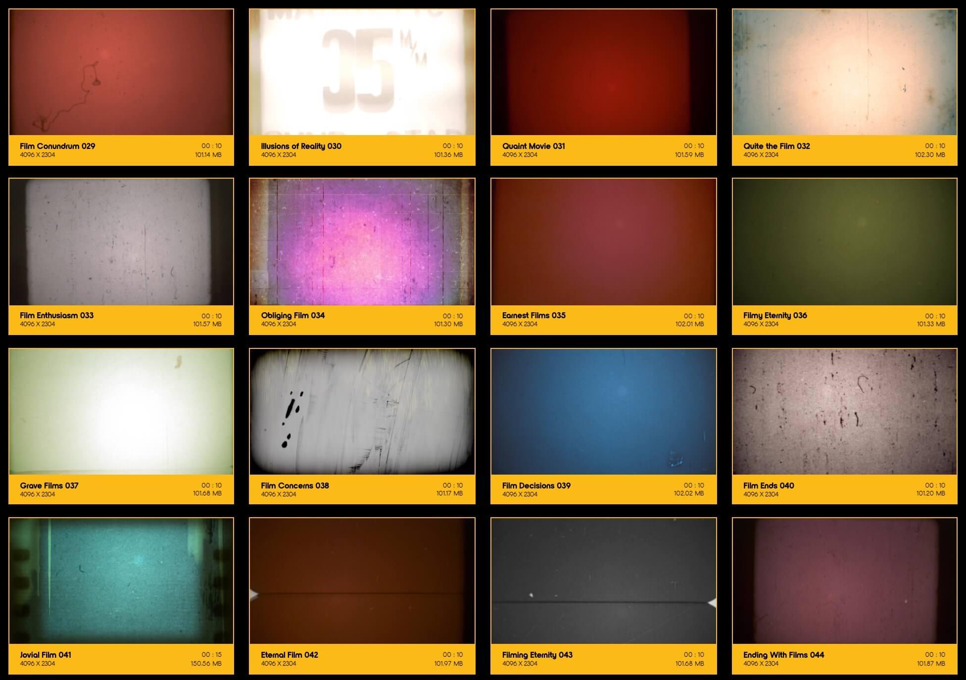 209个4K复古怀旧老电影胶片灼烧刮痕污渍噪波动画 特效合成素材 Film Clutter BBV10