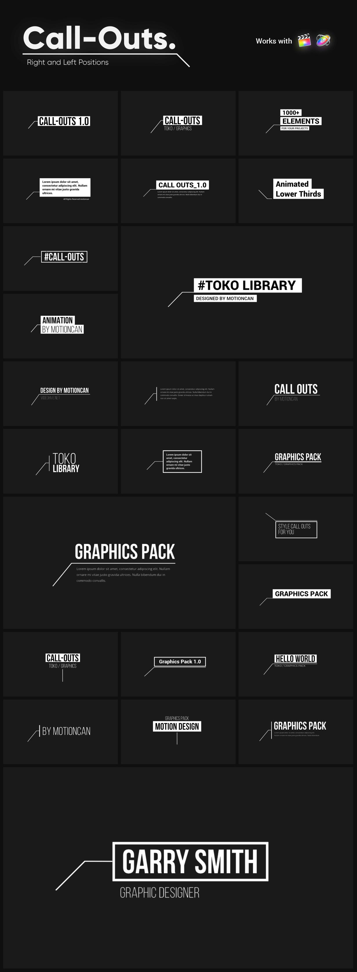 fcpx插件 1449个社交媒体文字标题排版设计LOGO图形背景动画+转场+音效